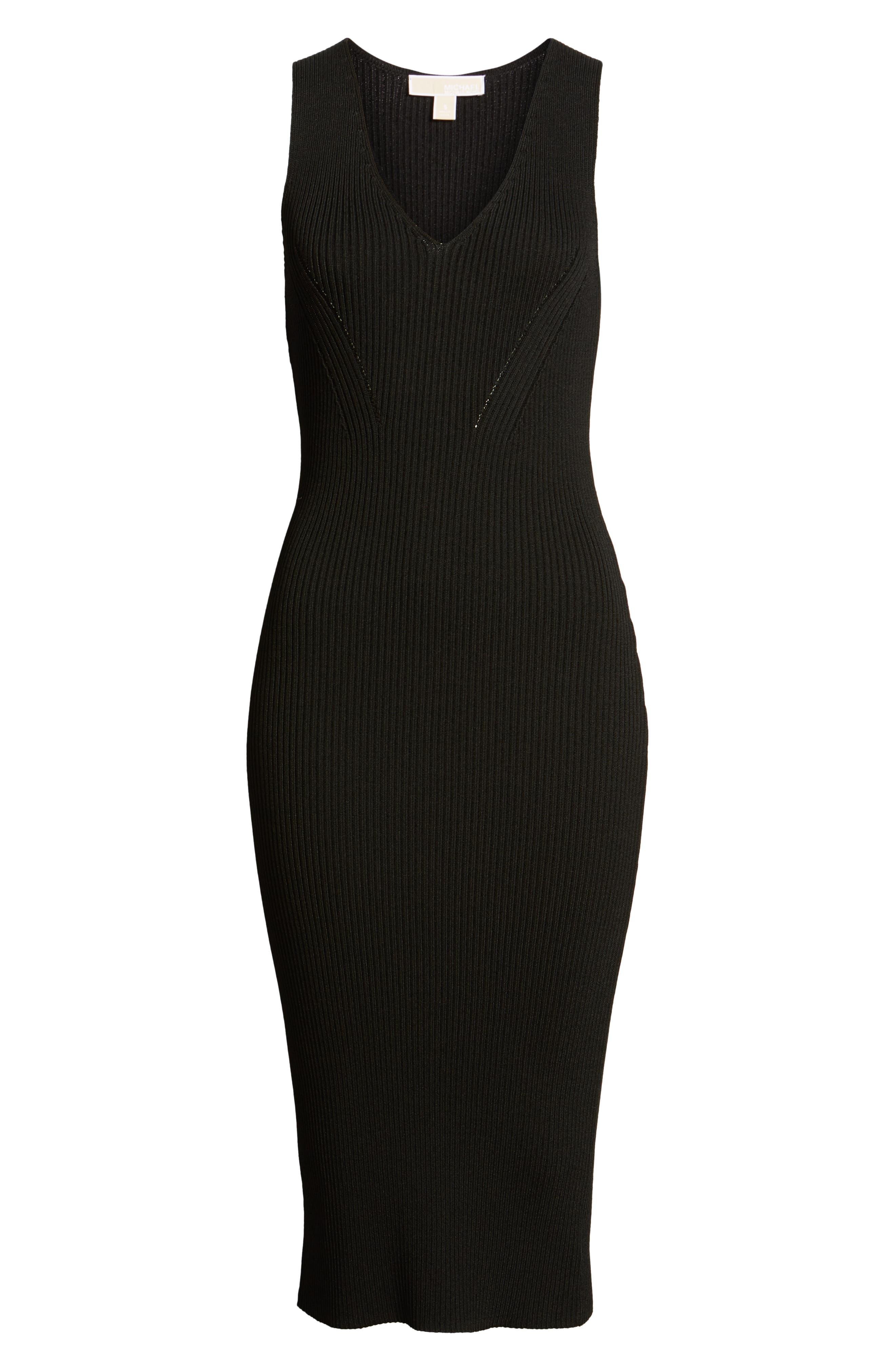 V-Neck Rib Knit Sweater Dress,                             Alternate thumbnail 7, color,                             BLACK
