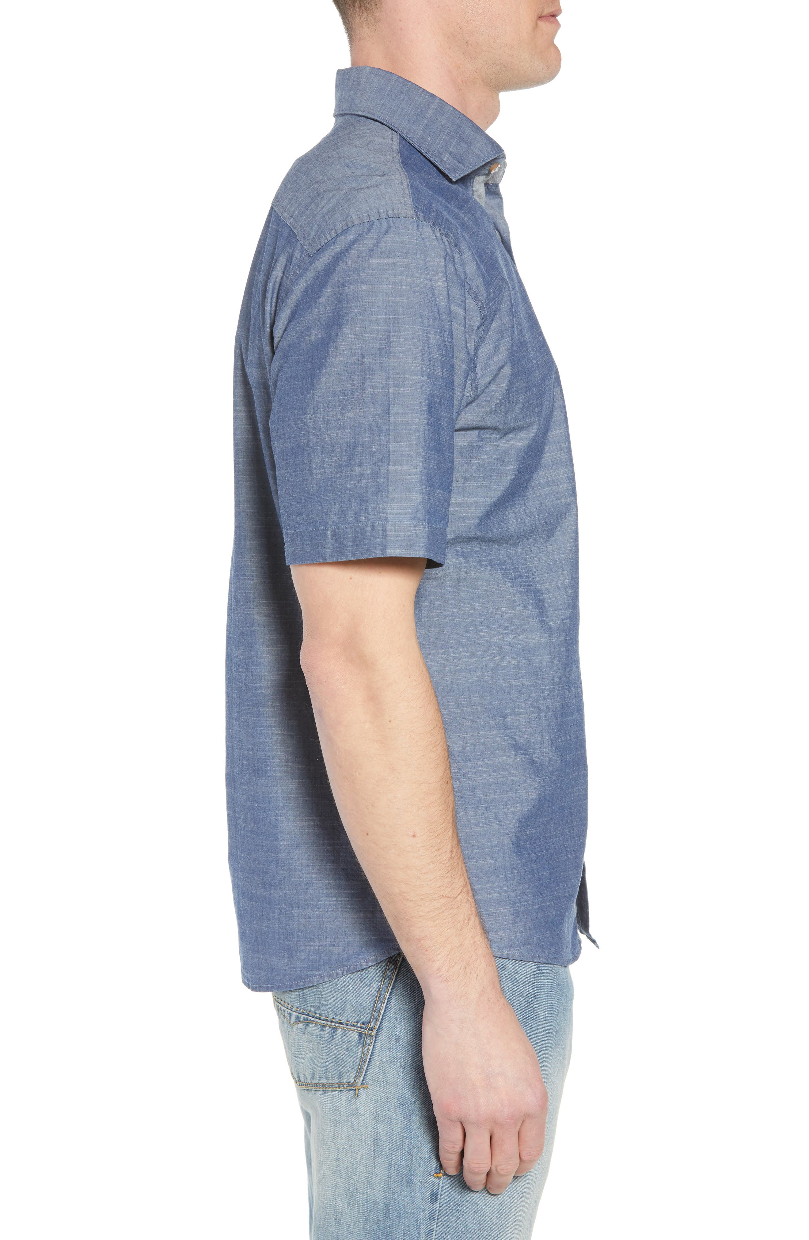 Lucas Regular Fit Chambray Sport Shirt,                             Alternate thumbnail 3, color,                             403