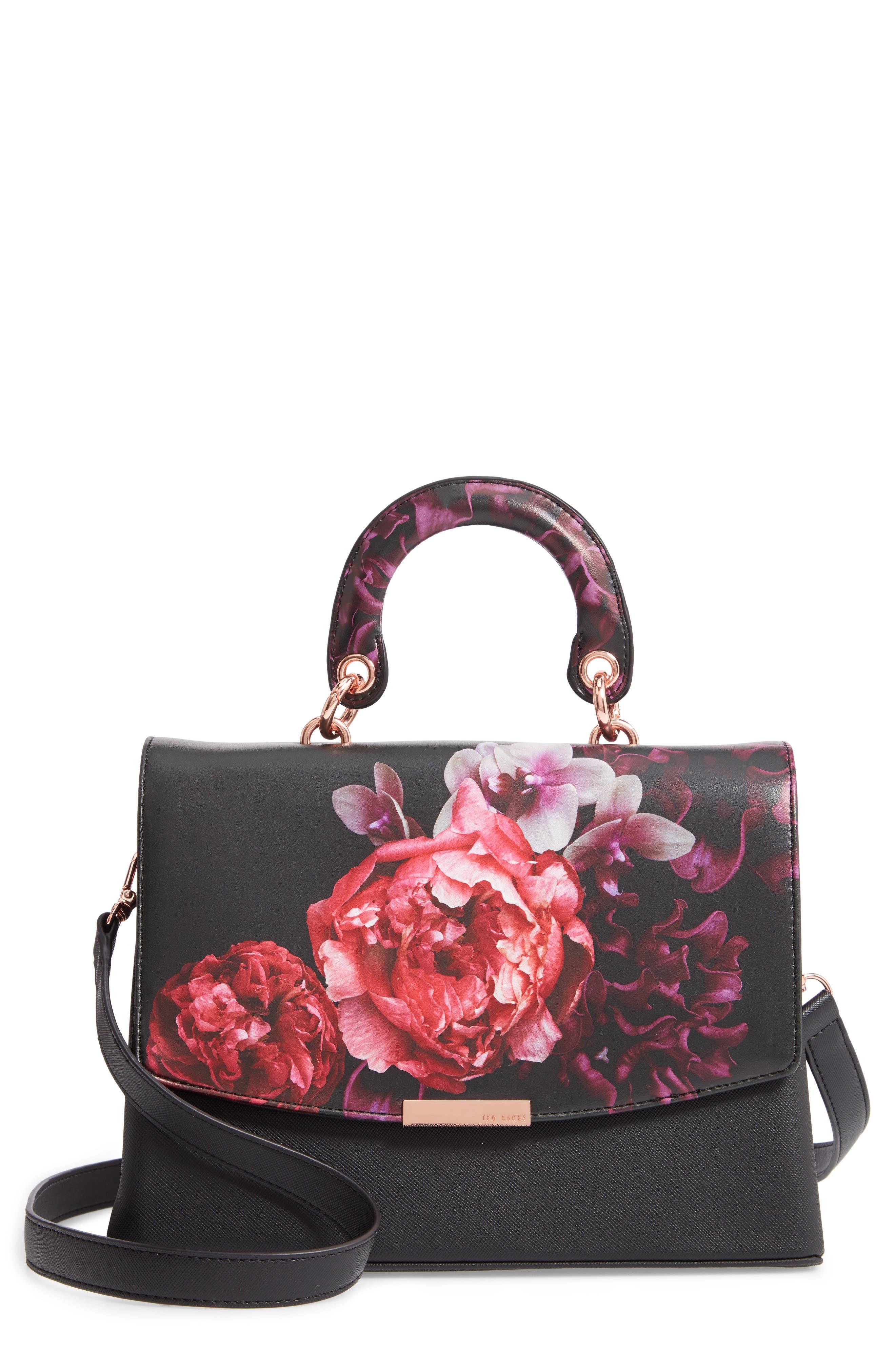 Splendour Lady Bag Faux Leather Top Handle Satchel,                             Main thumbnail 1, color,                             BLACK