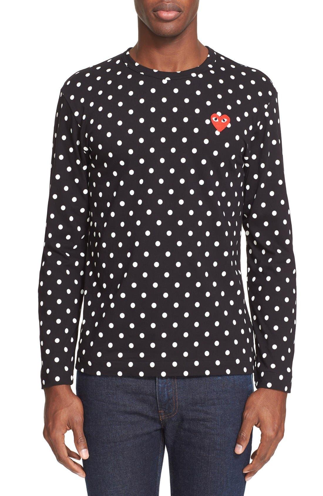 Dot Print Long Sleeve Crewneck T-Shirt,                         Main,                         color, BLACK