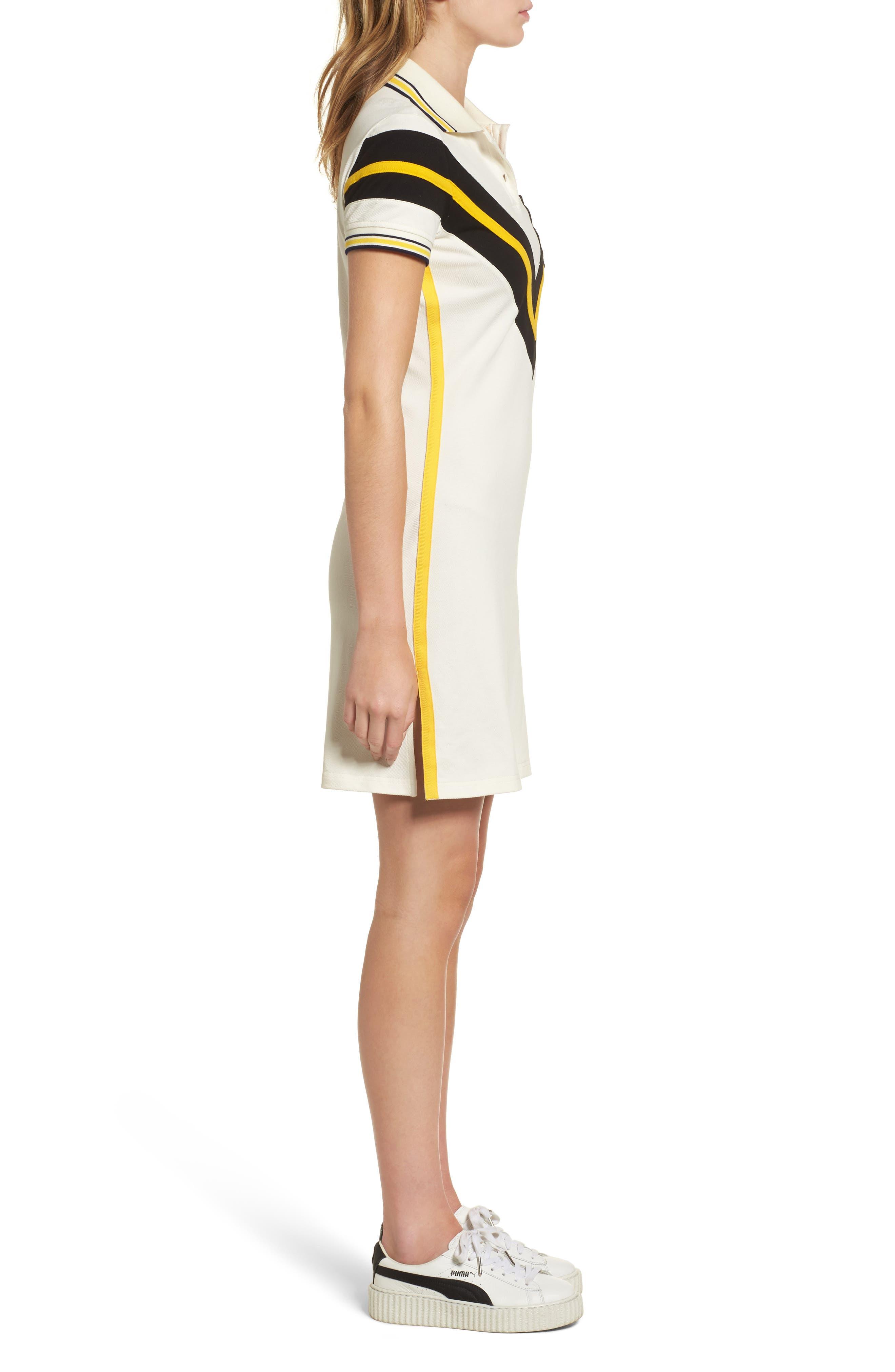 FENTY PUMA by Rihanna Jersey Polo Dress,                             Alternate thumbnail 3, color,                             100