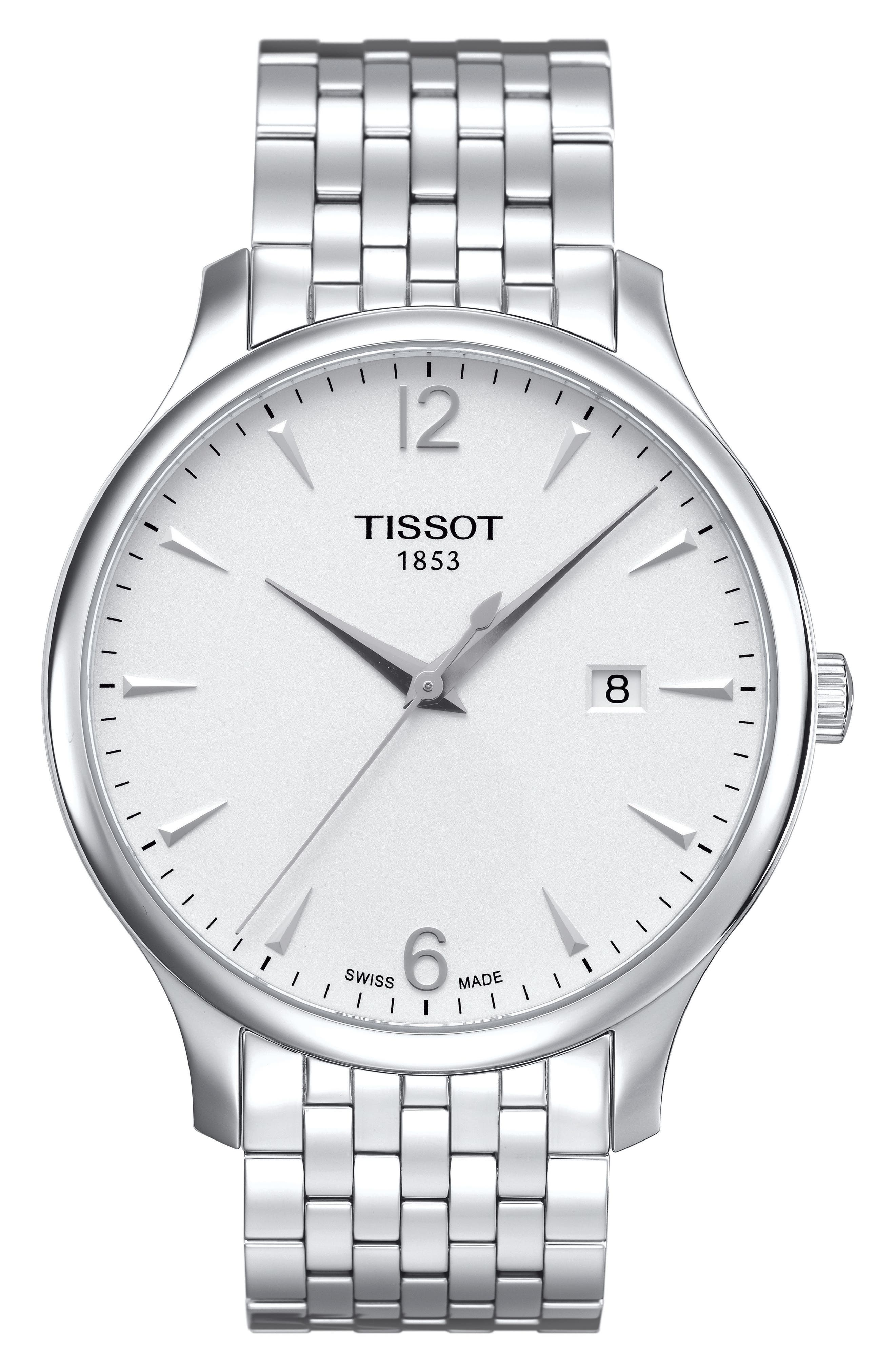 Tradition Bracelet Watch, 42mm,                         Main,                         color, SILVER
