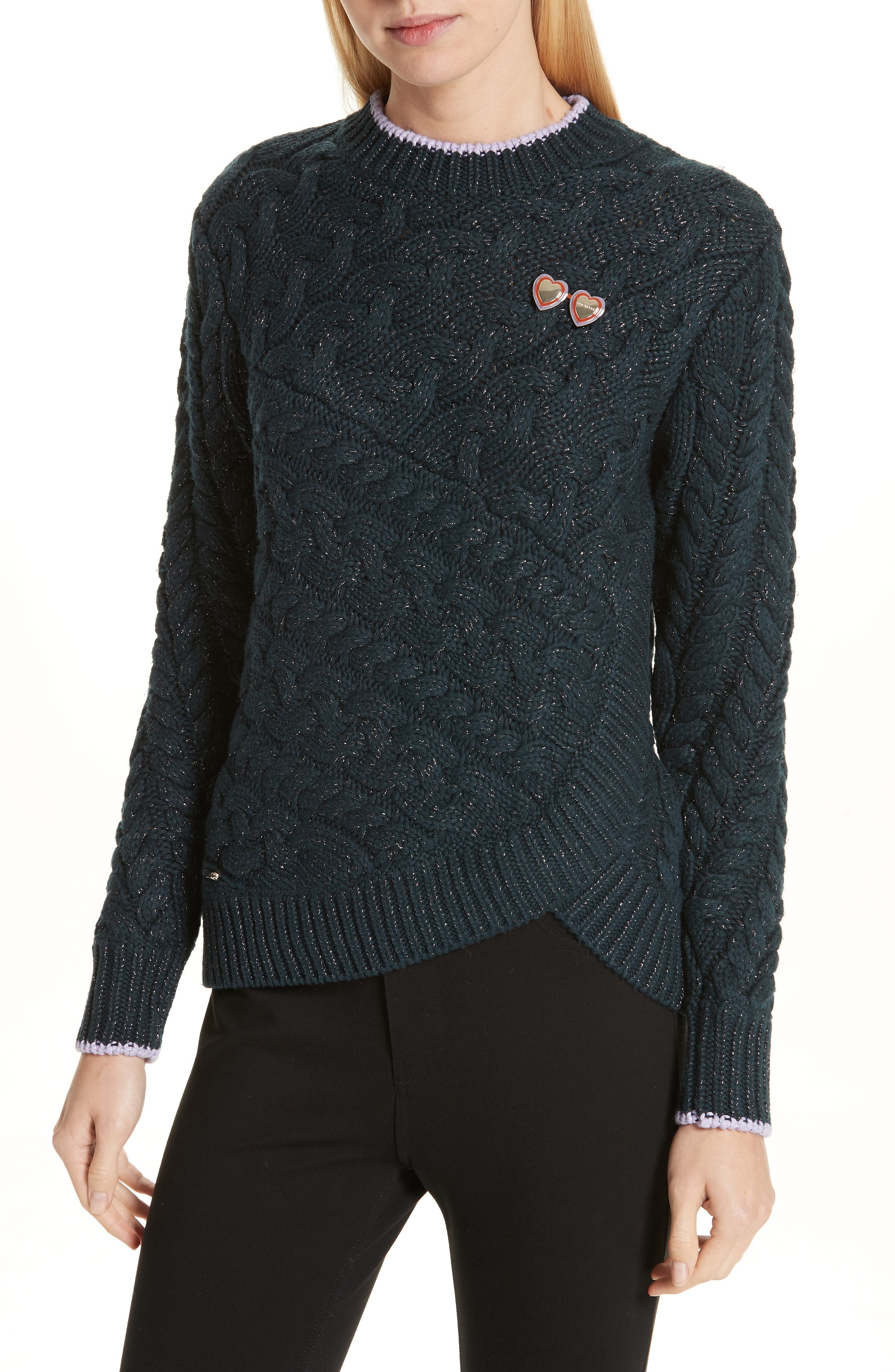 Colour by Numbers Charo Cable Knit Sweater,                             Main thumbnail 1, color,                             301