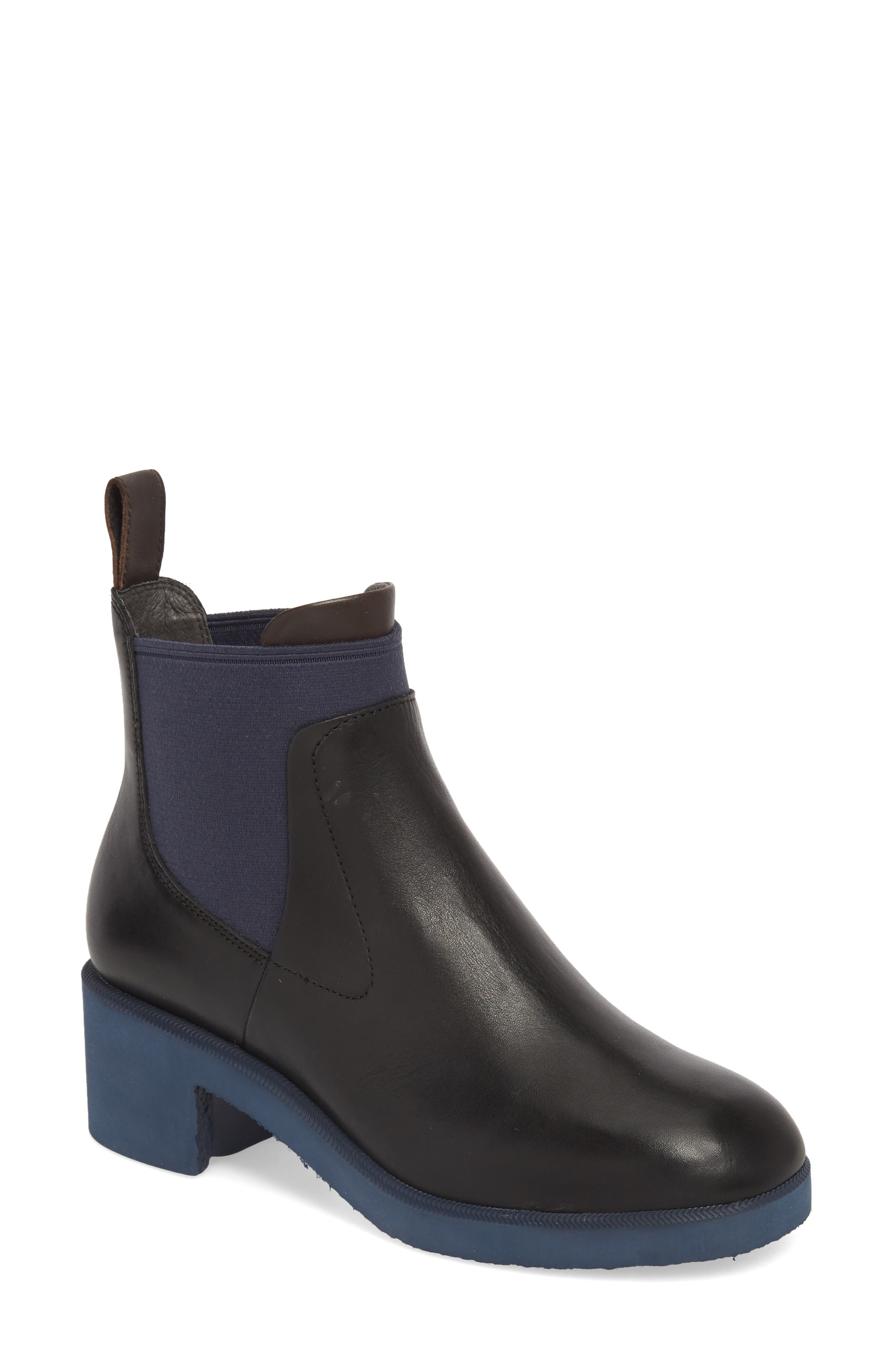 Whitnee Bootie,                             Main thumbnail 1, color,                             BLACK LEATHER/ NAVY