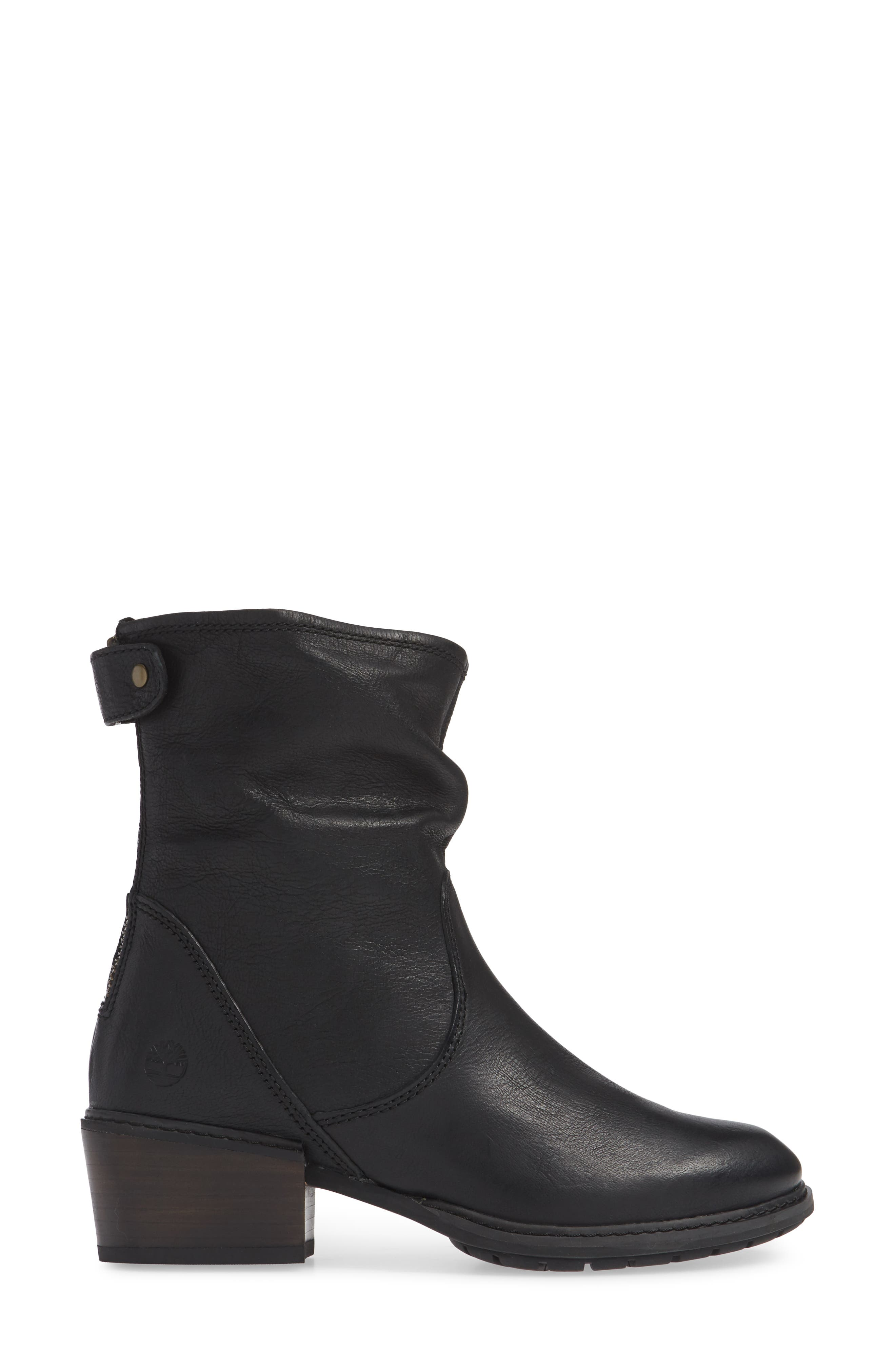 Sutherlin Bay Water Resistant Bootie,                             Alternate thumbnail 3, color,                             JET BLACK LEATHER