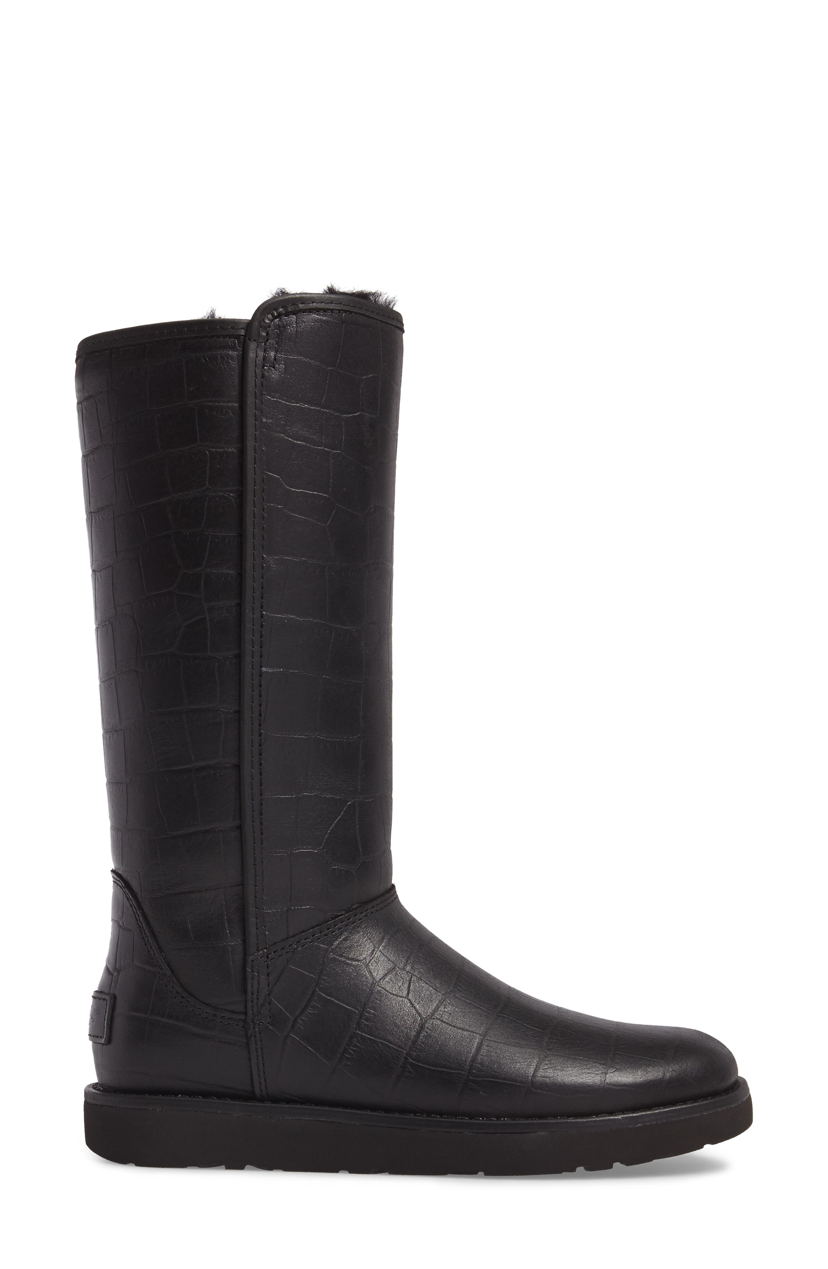 Abree II Croc Embossed Boot,                             Alternate thumbnail 3, color,                             001