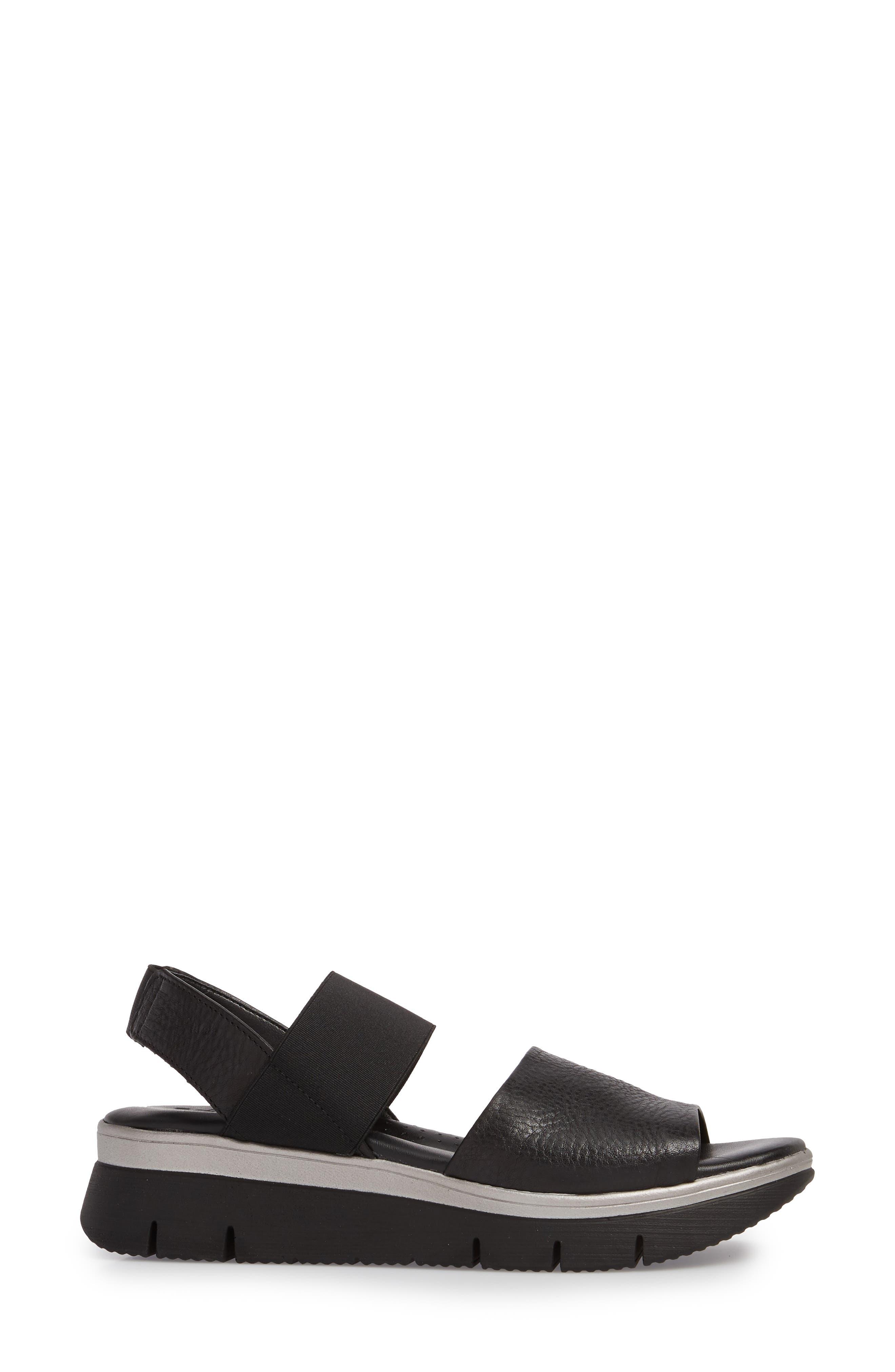 Cushy Sandal,                             Alternate thumbnail 3, color,                             BLACK LEATHER