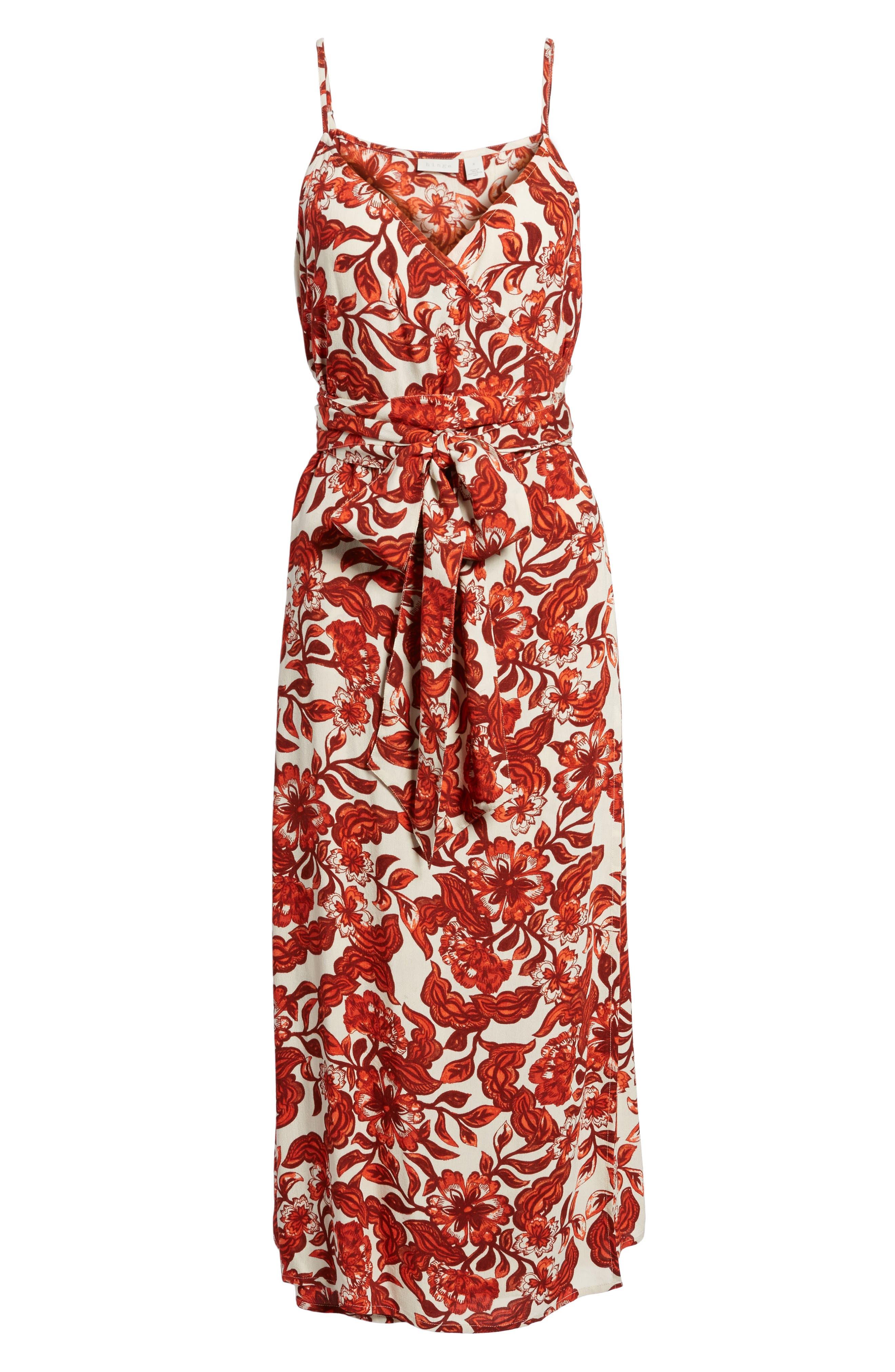 Midi Wrap Dress,                             Alternate thumbnail 6, color,                             RED LAVA SNAP FLORAL