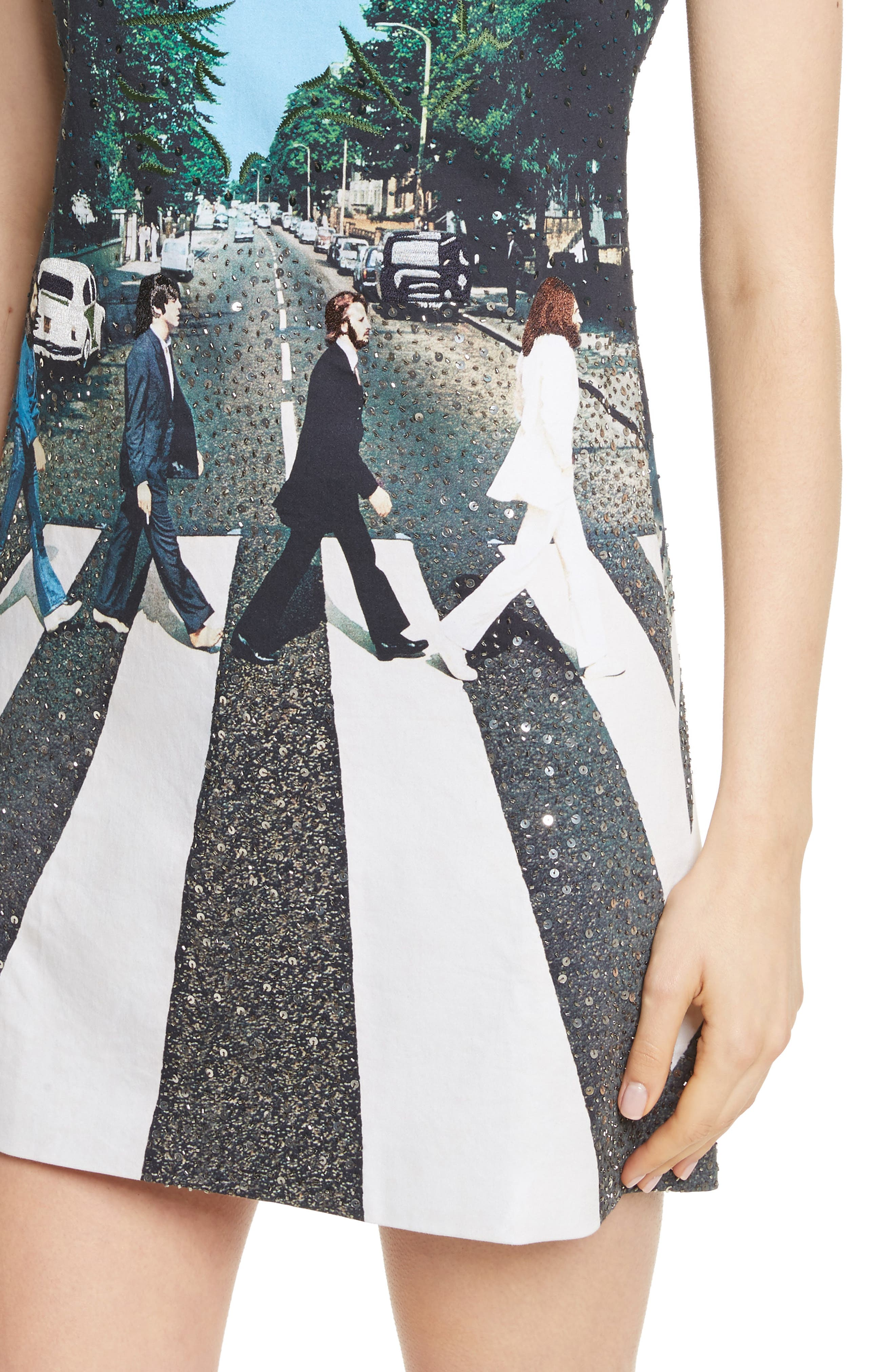 ALICE + OLIVIA,                             AO x The Beatles Sequined Shift Dress,                             Alternate thumbnail 4, color,                             473