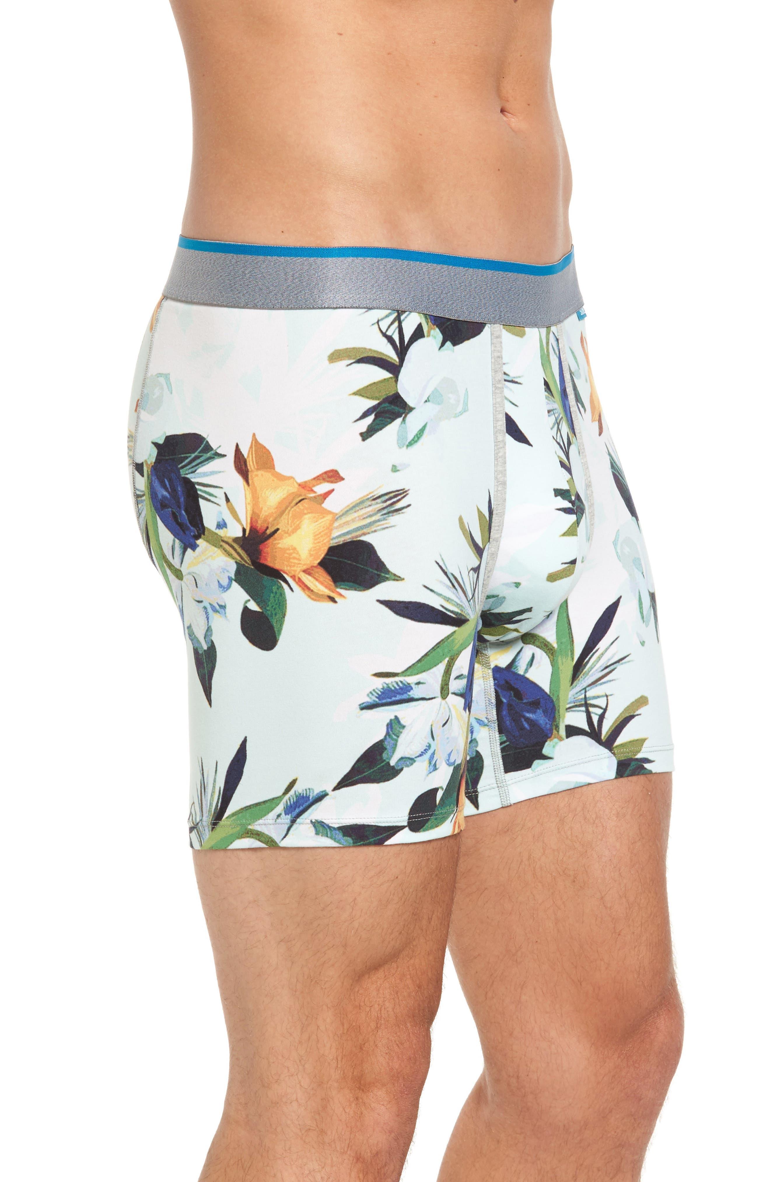 Aqua Floral Boxer Briefs,                             Alternate thumbnail 3, color,                             420