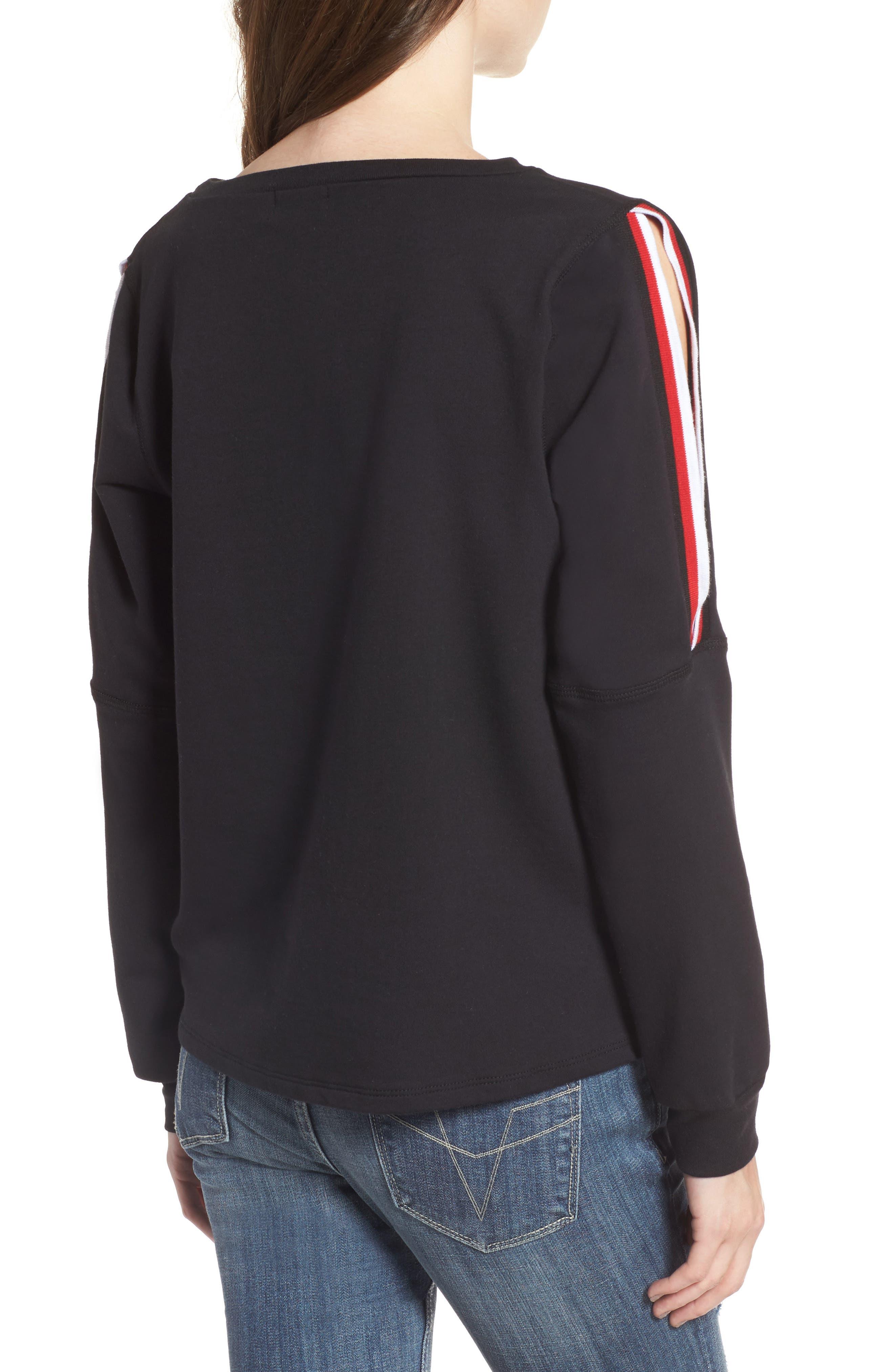 Sporty Cold Shoulder Sweatshirt,                             Alternate thumbnail 2, color,                             001