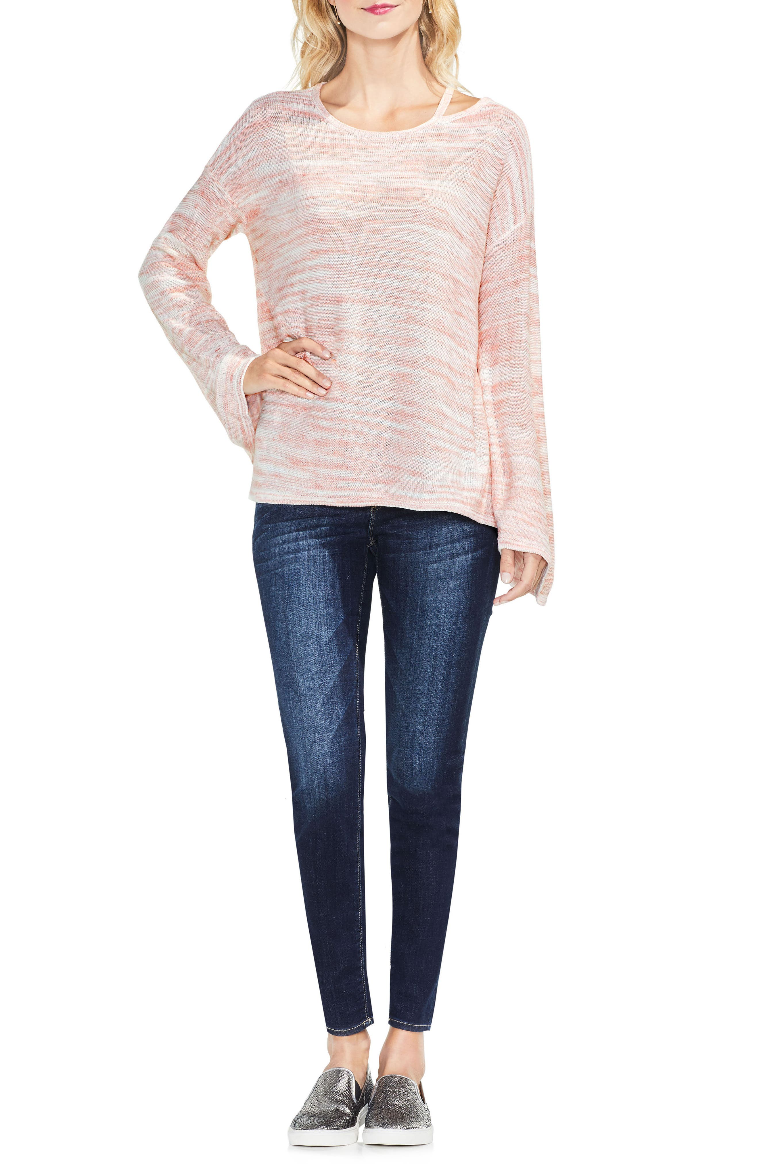 Drop Shoulder Space Dye Sweater,                             Alternate thumbnail 8, color,