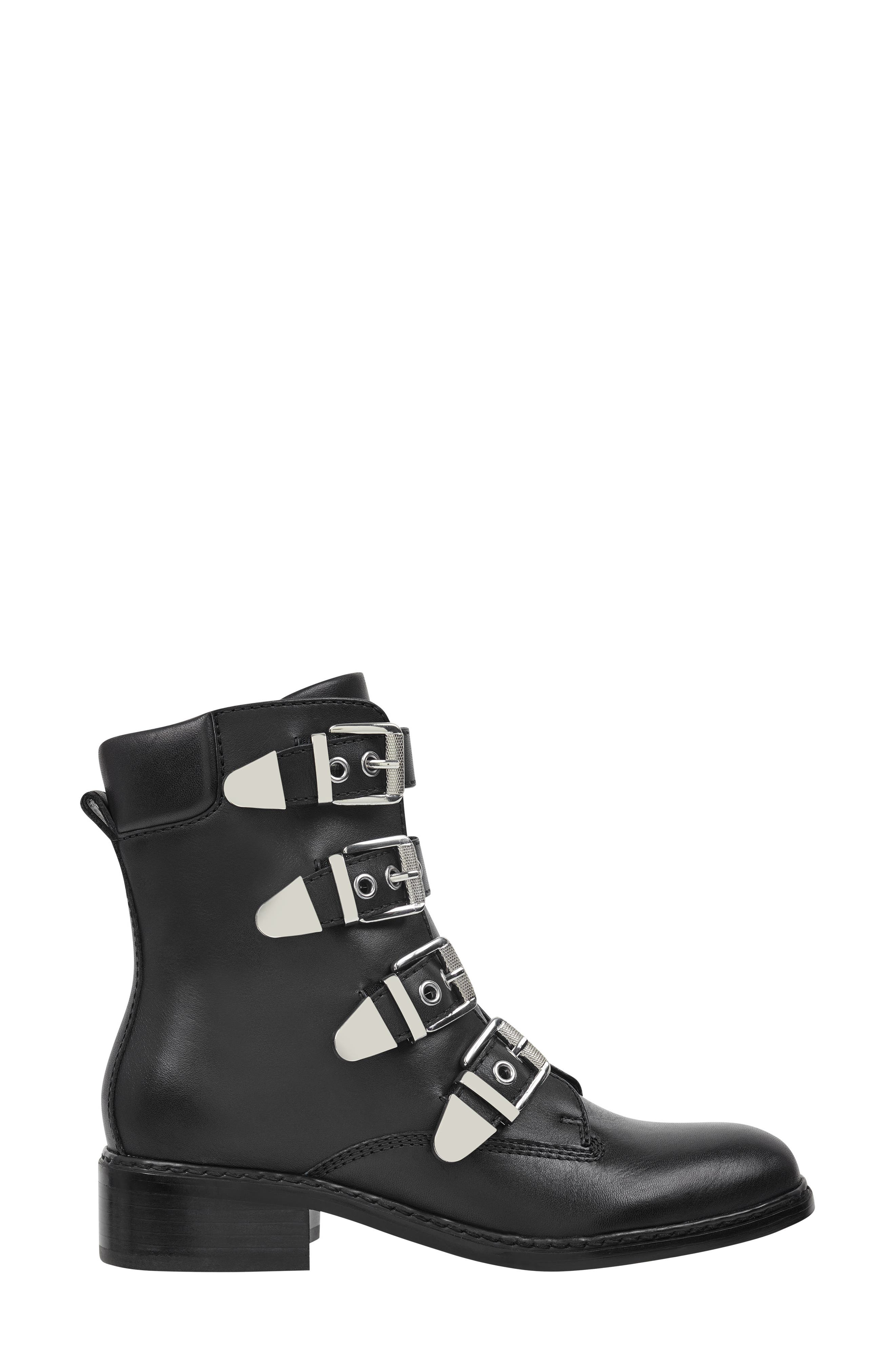 Buckle Boot,                             Alternate thumbnail 3, color,                             BLACK LEATHER