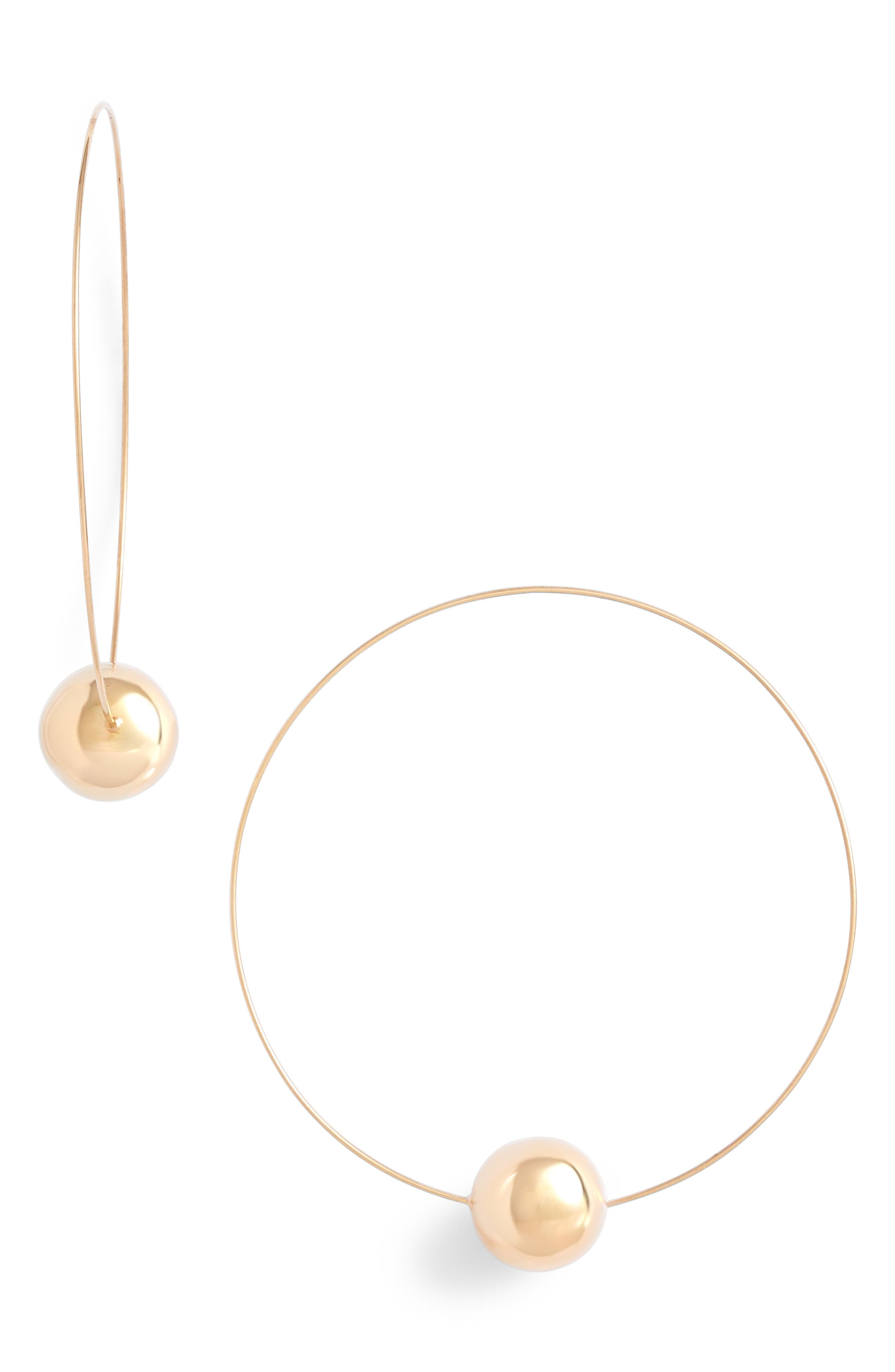 LANA JEWELRY,                             Lana Hollow Ball Magic Wire Continuous Hoop Earrings,                             Main thumbnail 1, color,                             GOLD