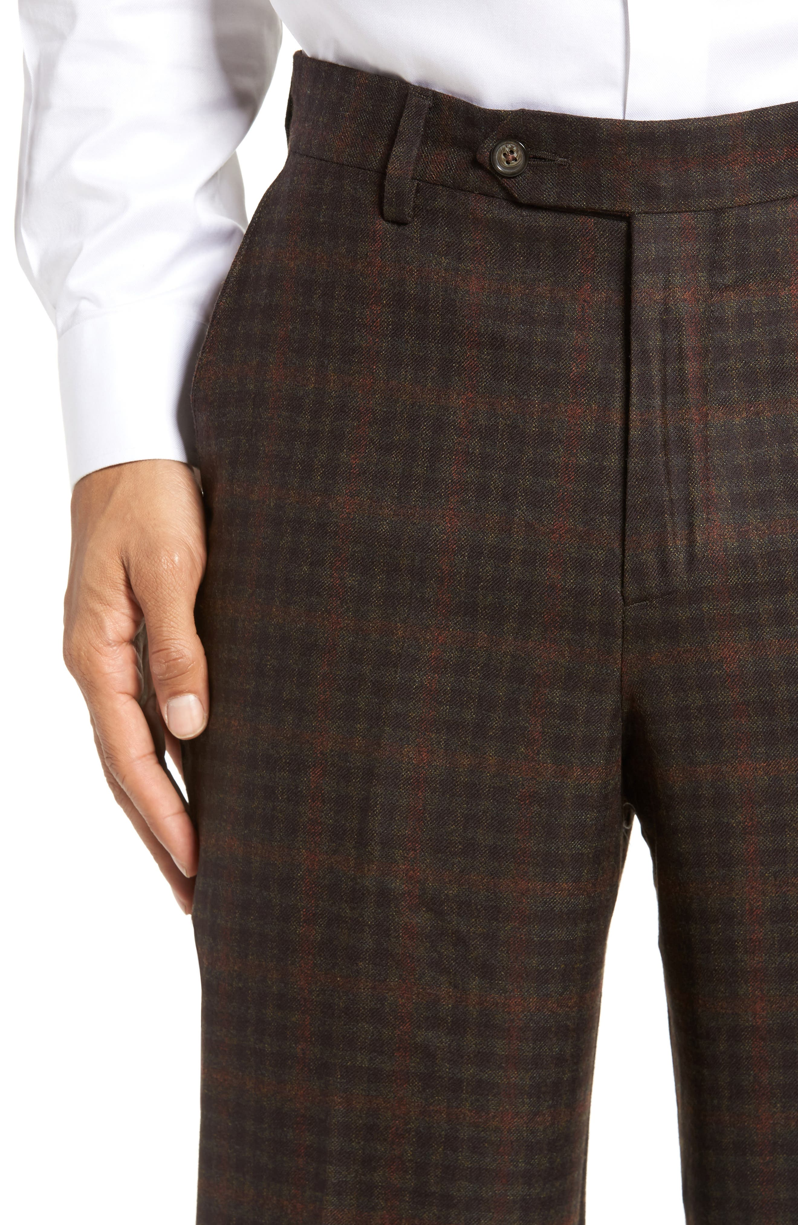 Flat Front Plaid Wool Trousers,                             Alternate thumbnail 5, color,                             200