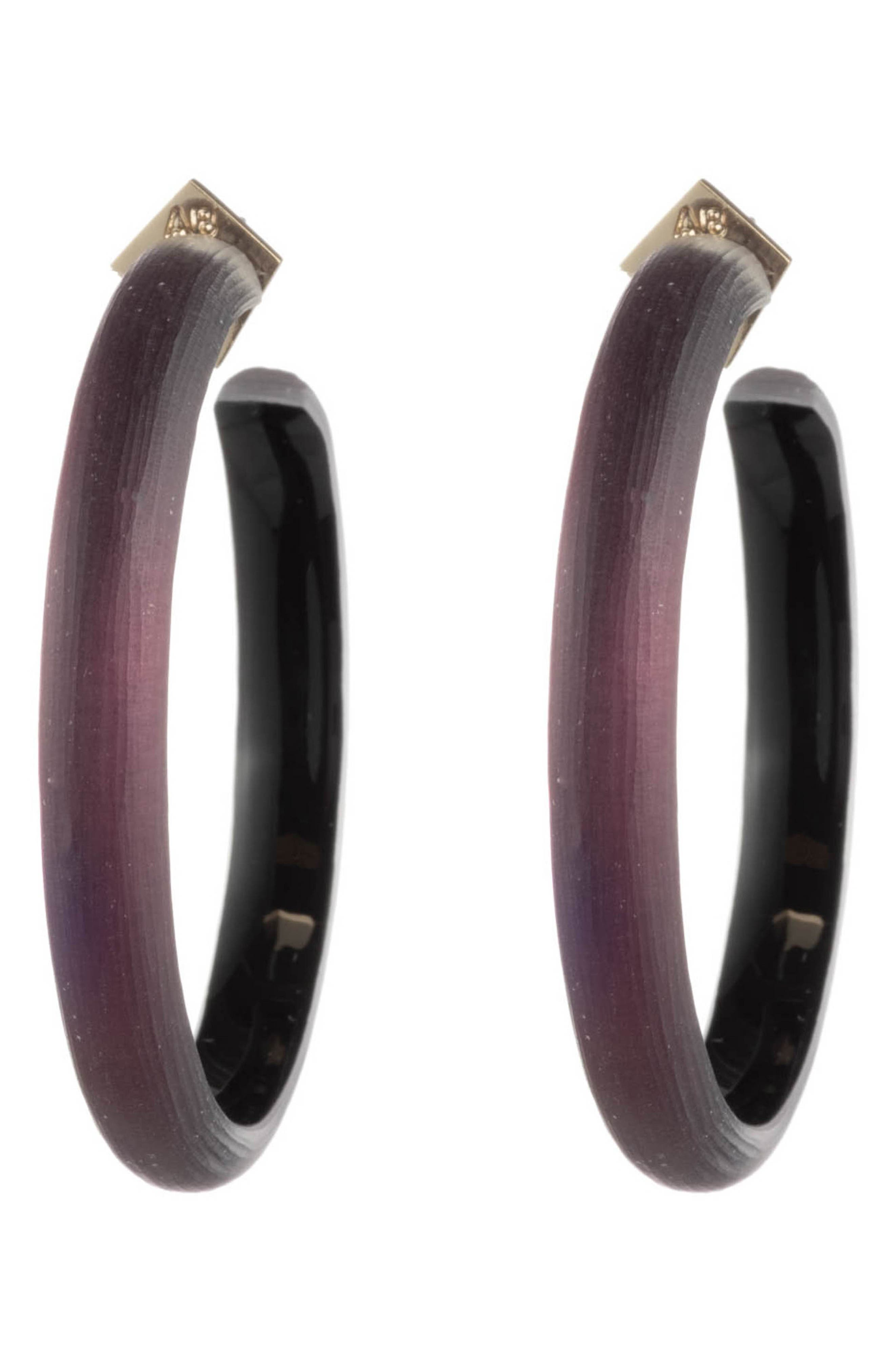 ALEXIS BITTAR,                             Retro Gold Collection Large Lucite<sup>®</sup> Hoop Earrings,                             Alternate thumbnail 3, color,                             BLACK CHERRY