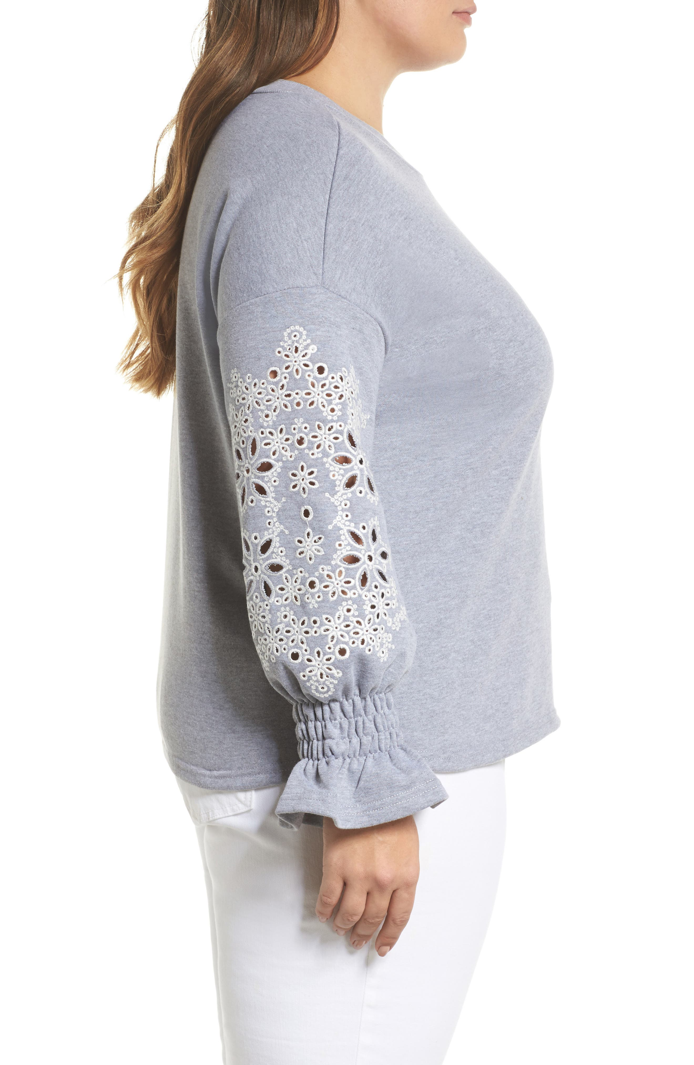 Broderie Anglaise Embellished Sweatshirt,                             Alternate thumbnail 3, color,                             020