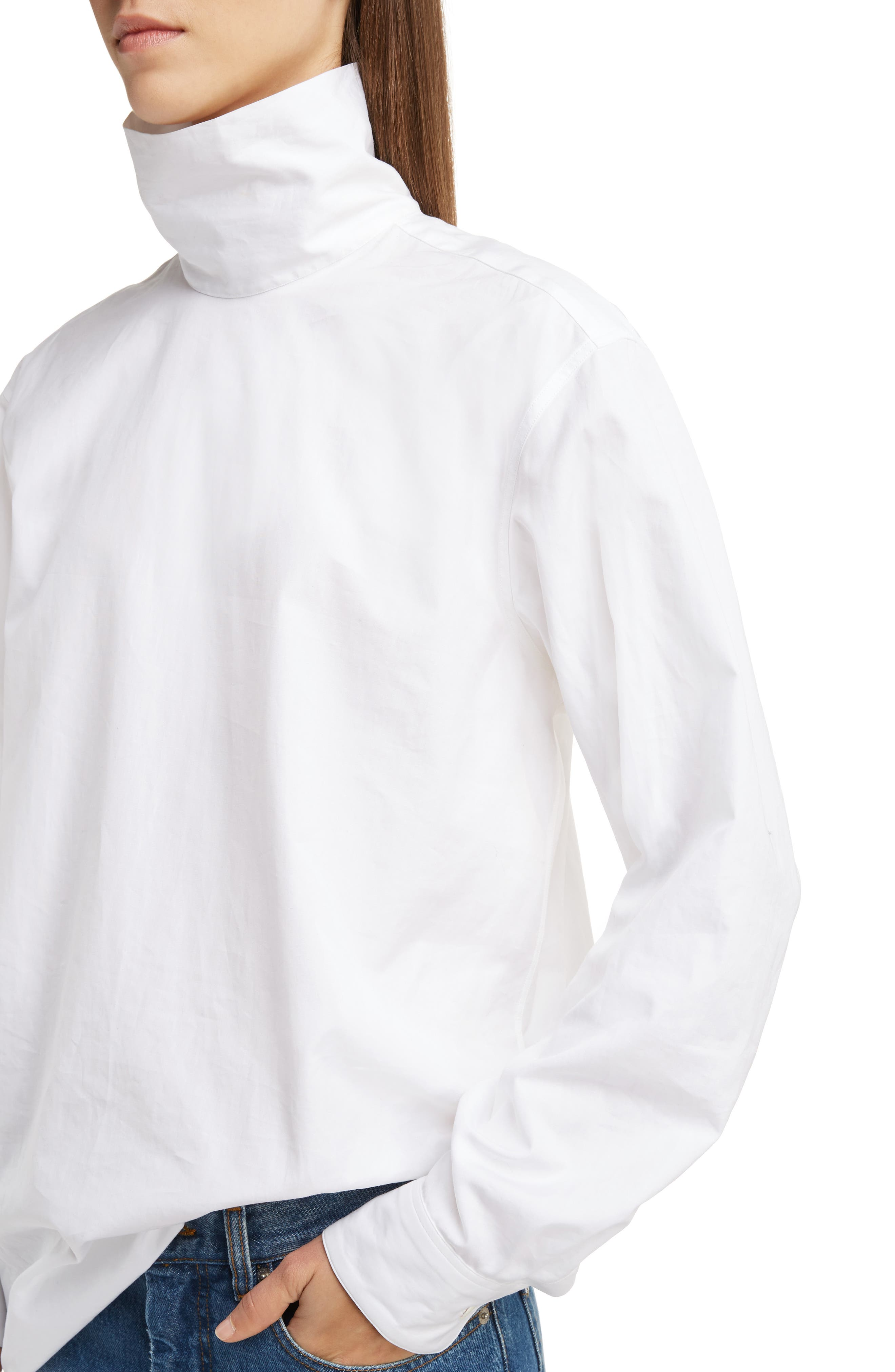 Cotton Poplin Mock Neck Blouse,                             Alternate thumbnail 4, color,                             100