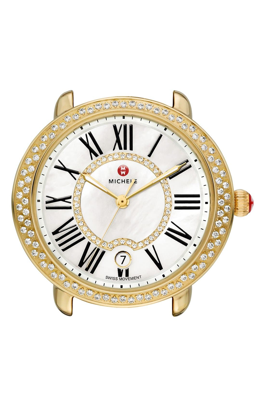 Serein 16 Diamond Gold Plated Watch Case, 34mm x 36mm,                             Alternate thumbnail 6, color,                             GOLD