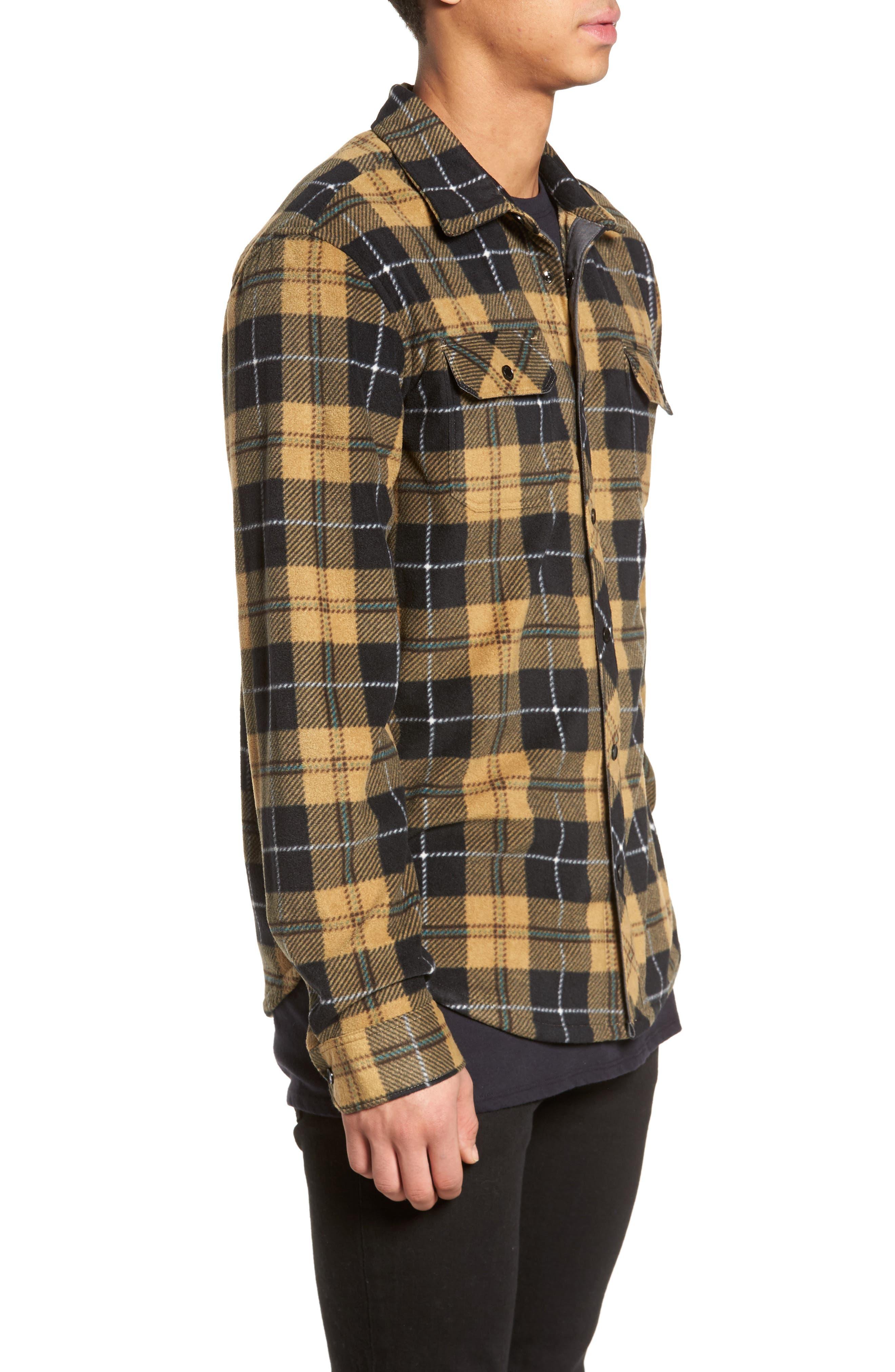 Glacier Plaid Fleece Flannel Shirt,                             Alternate thumbnail 11, color,