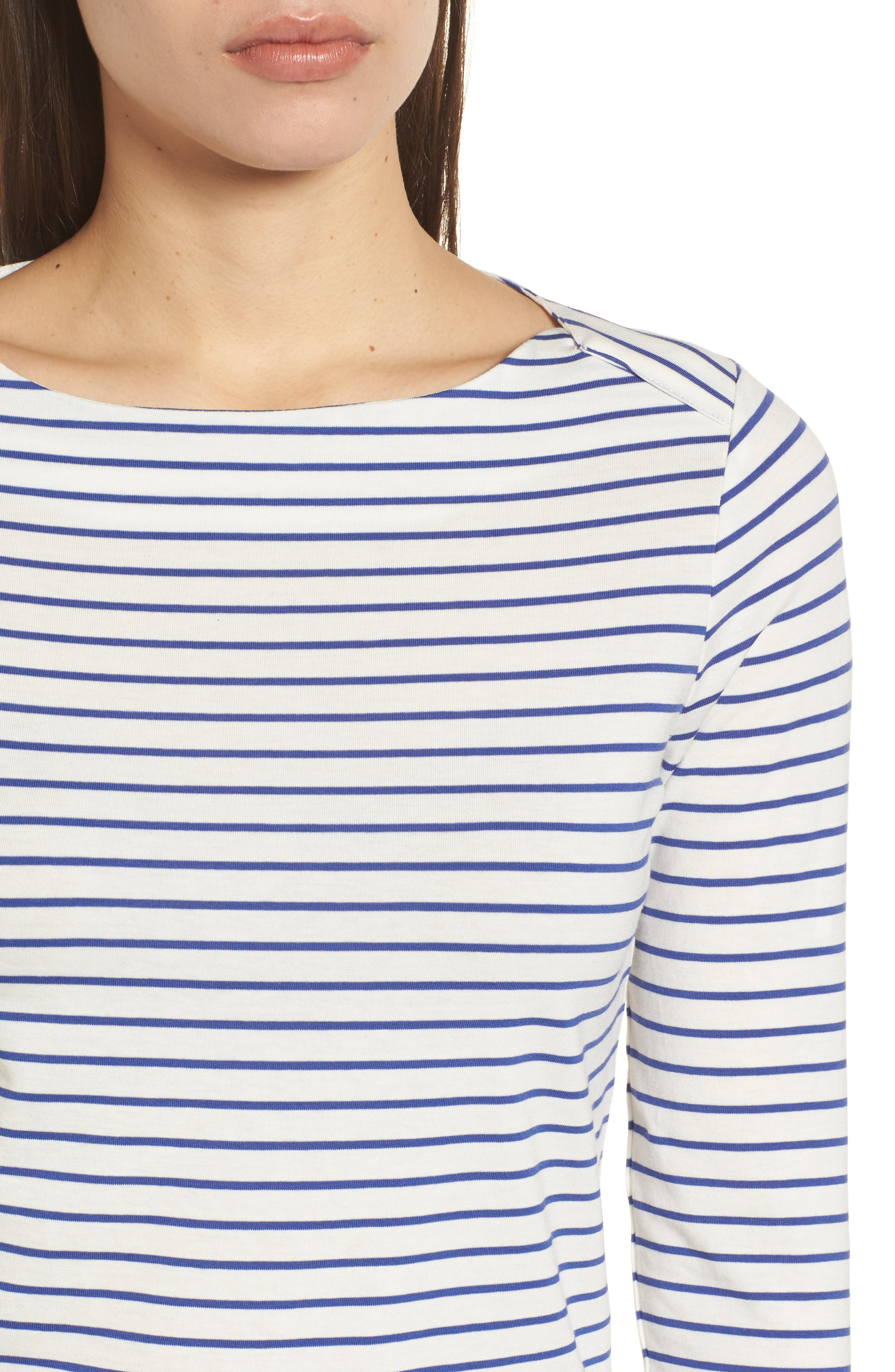 Stripe Knit Boatneck Top,                             Alternate thumbnail 4, color,                             100