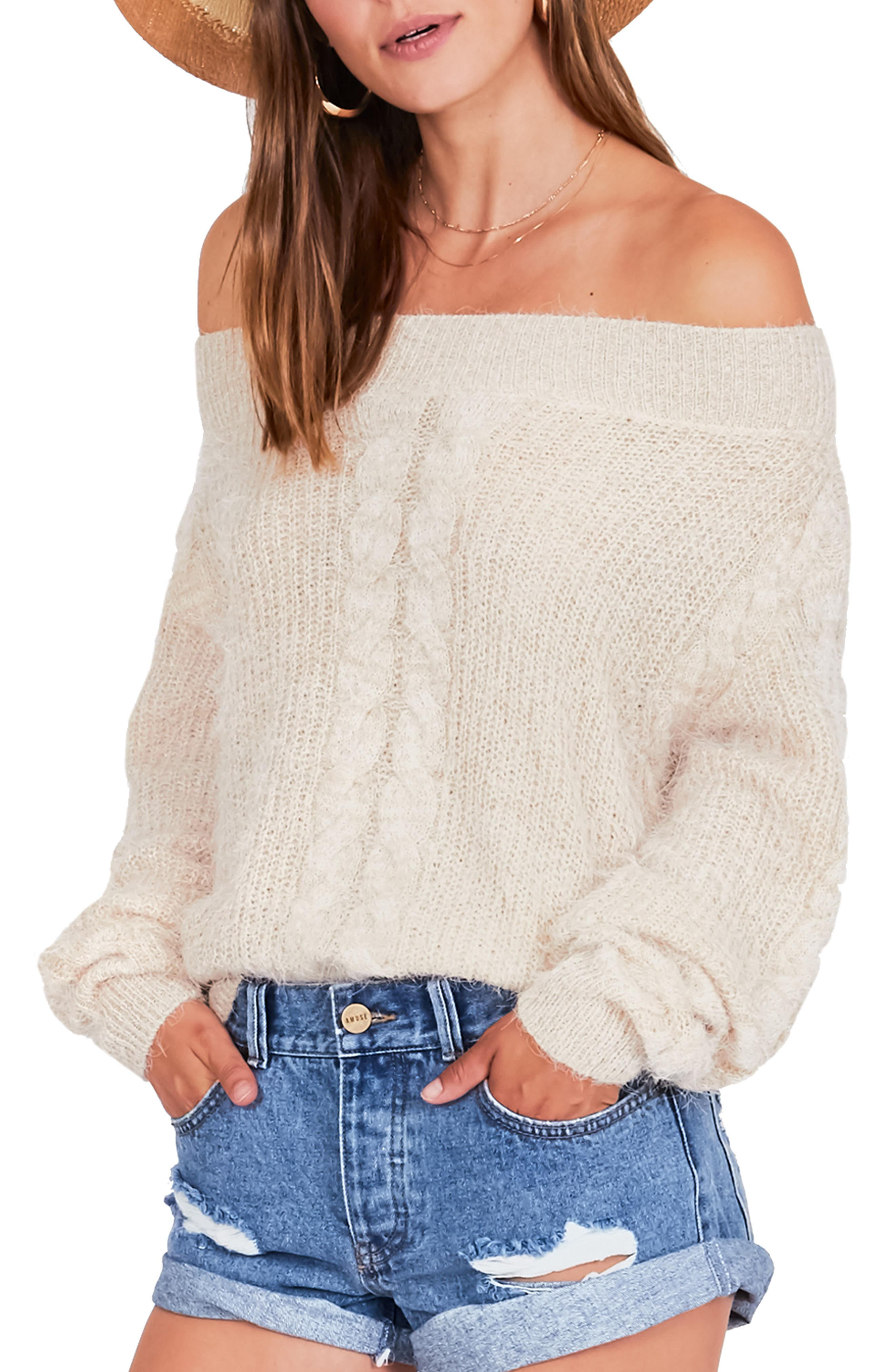 AMUSE SOCIETY Miraflores Off The Shoulder Sweater in Oat