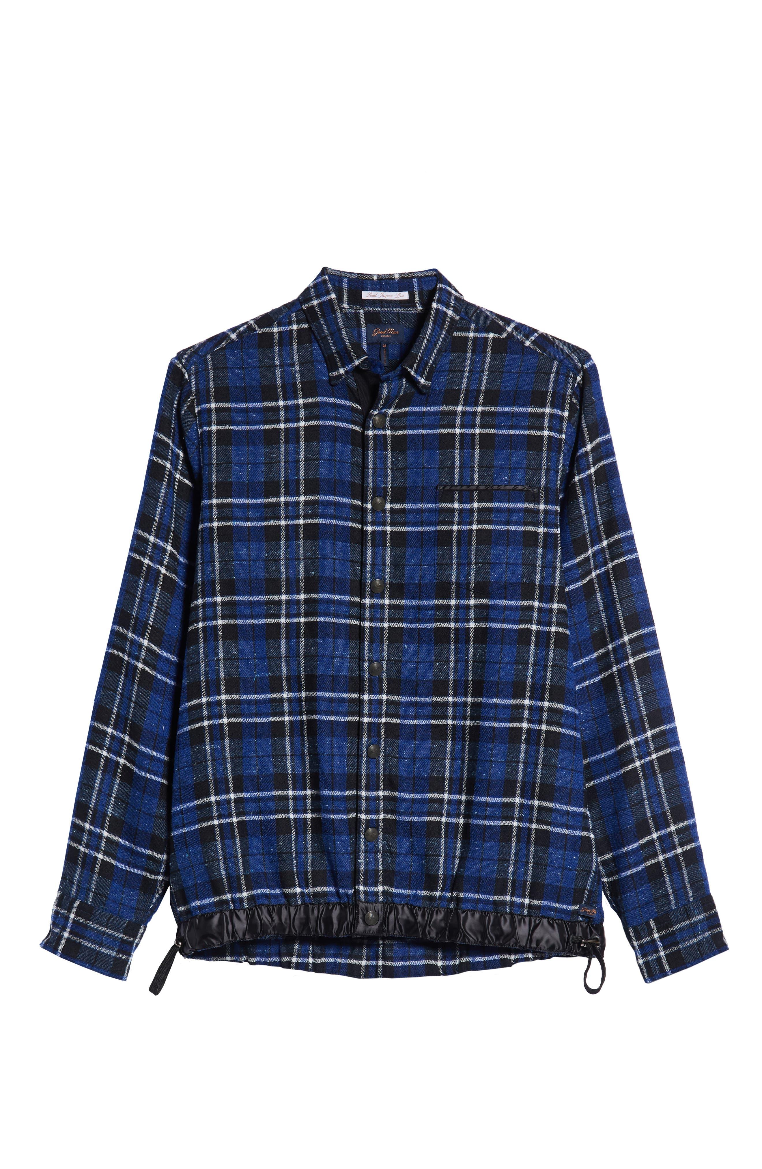 Slim Fit Tartan Shirt Jacket,                             Alternate thumbnail 5, color,                             NAVY