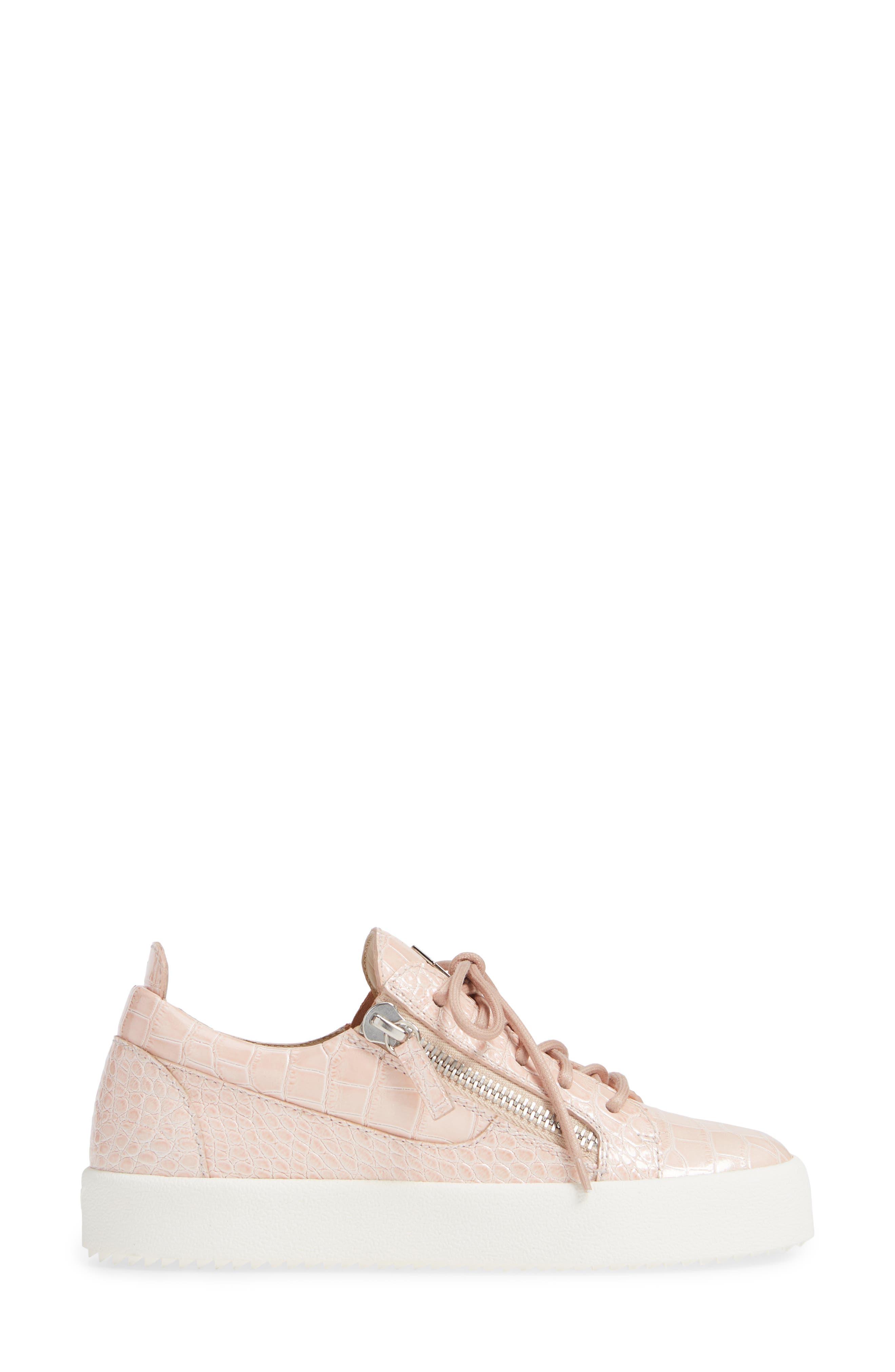 Low Top Sneaker,                             Alternate thumbnail 3, color,                             NUDE PINK