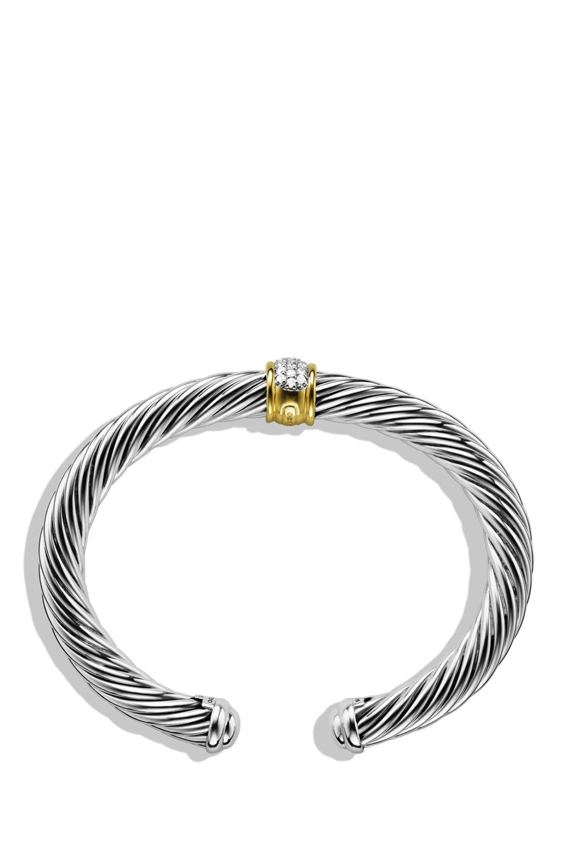 Cable Classics Bracelet with Diamonds & 18K Gold, 7mm,                             Alternate thumbnail 3, color,                             DIAMOND