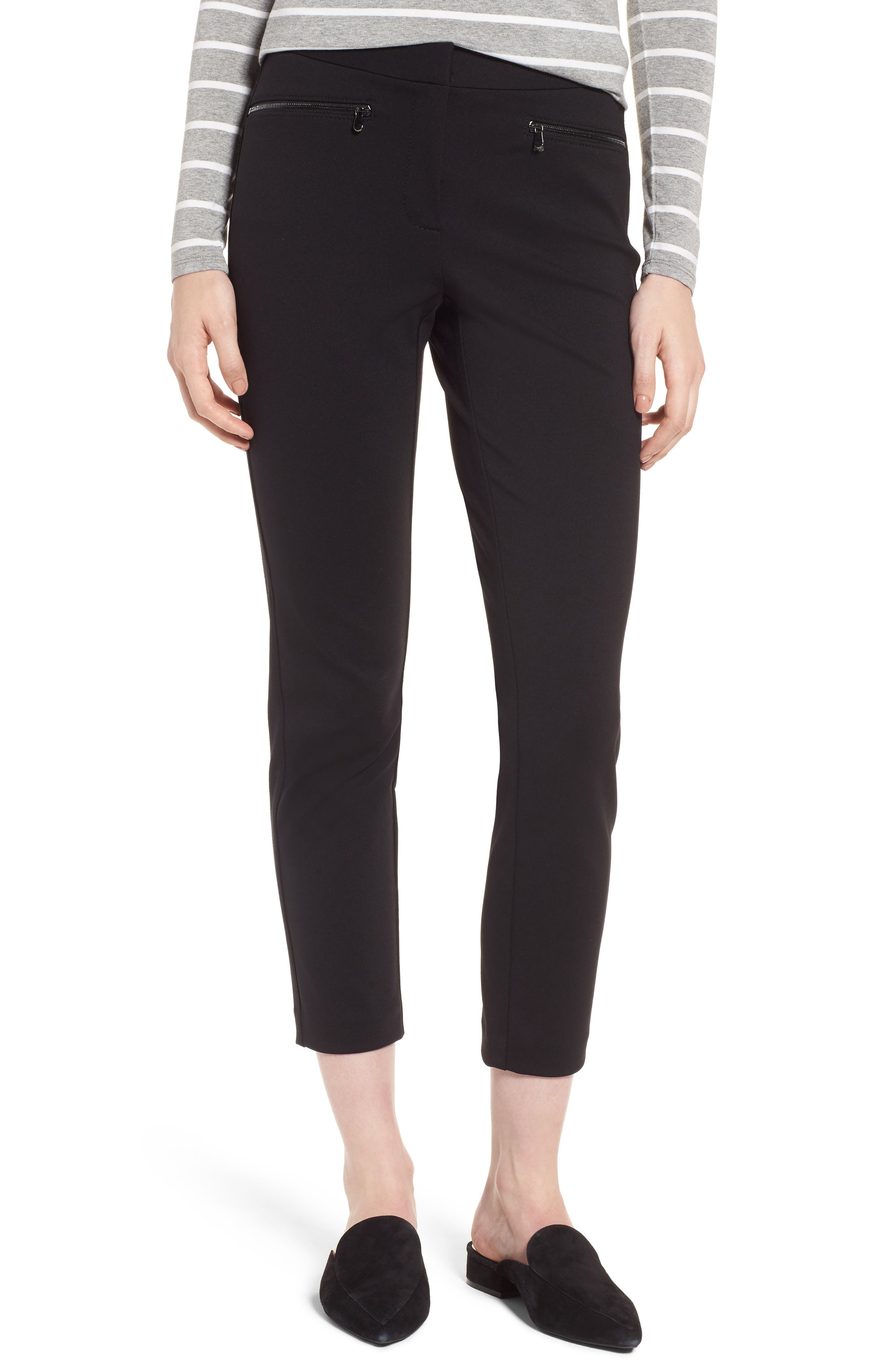 Exposed Zip Knit Pants,                             Main thumbnail 1, color,                             001