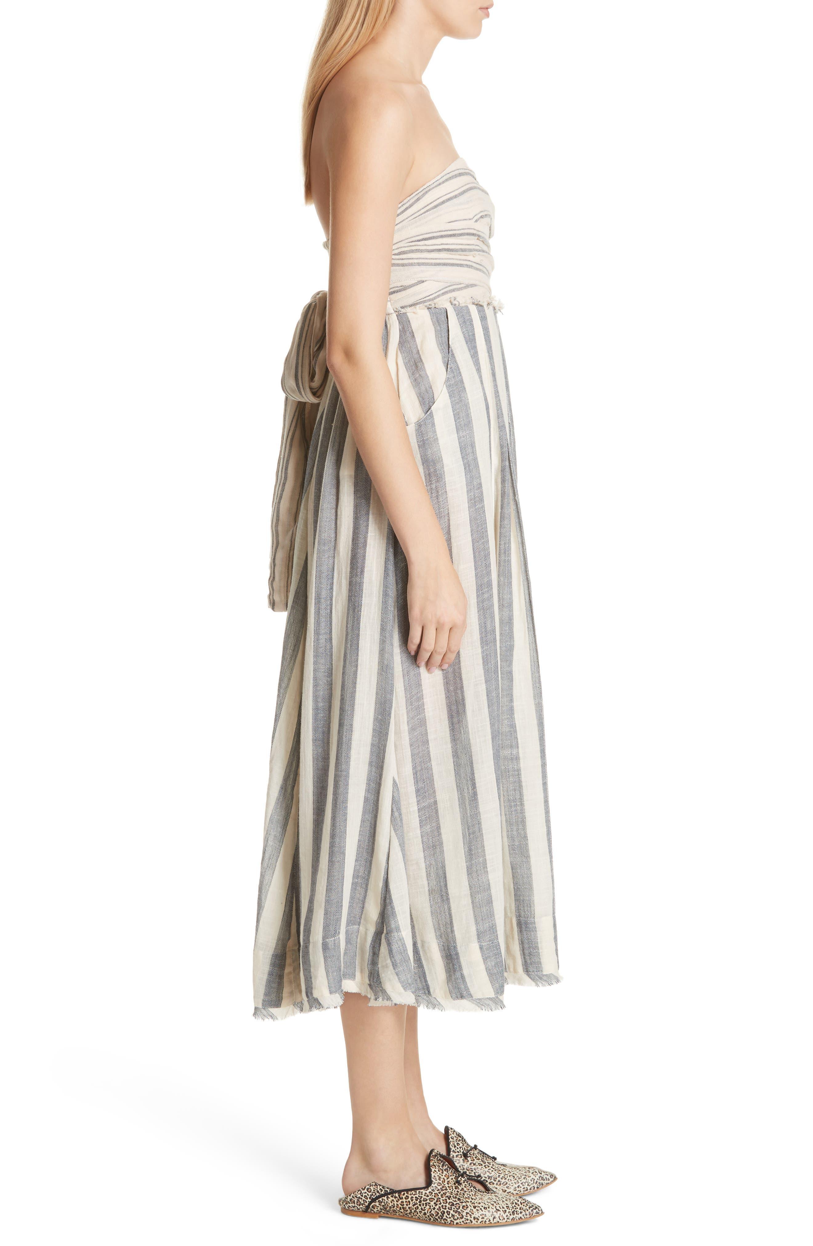 Stripe Me Up Strapless Midi Dress,                             Alternate thumbnail 3, color,                             400