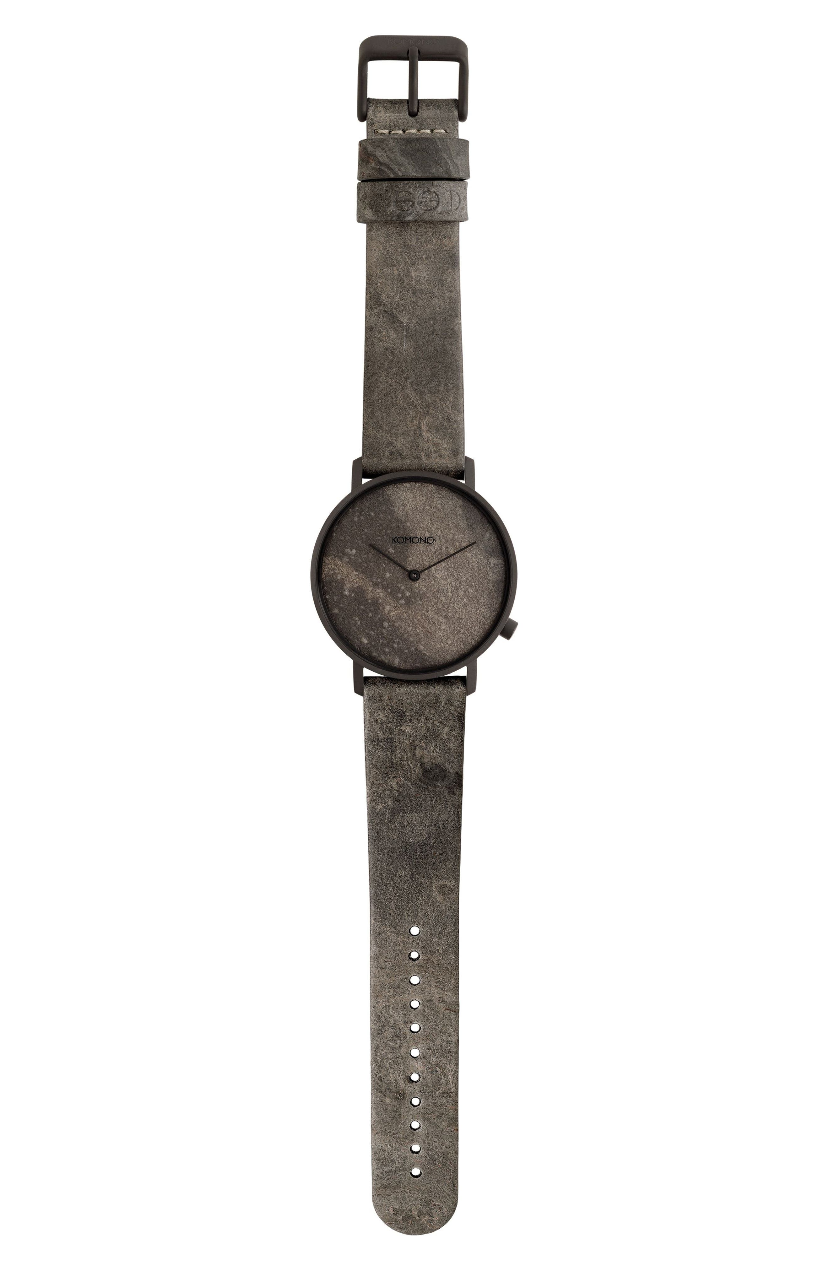 The Lewis Slate Leather Strap Watch, 40mm,                             Main thumbnail 1, color,                             020