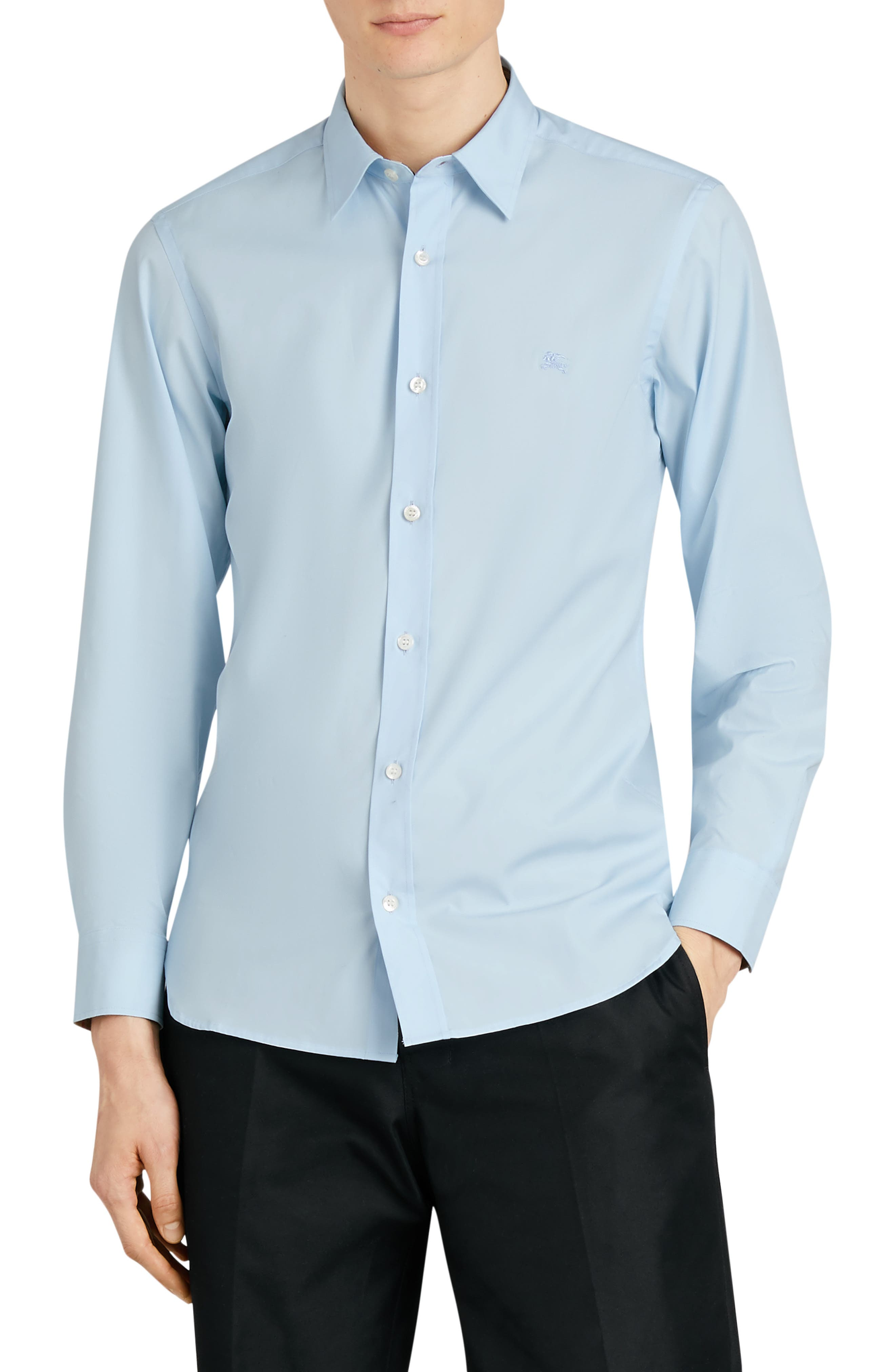 BURBERRY,                             William Stretch Poplin Sport Shirt,                             Main thumbnail 1, color,                             PALE BLUE