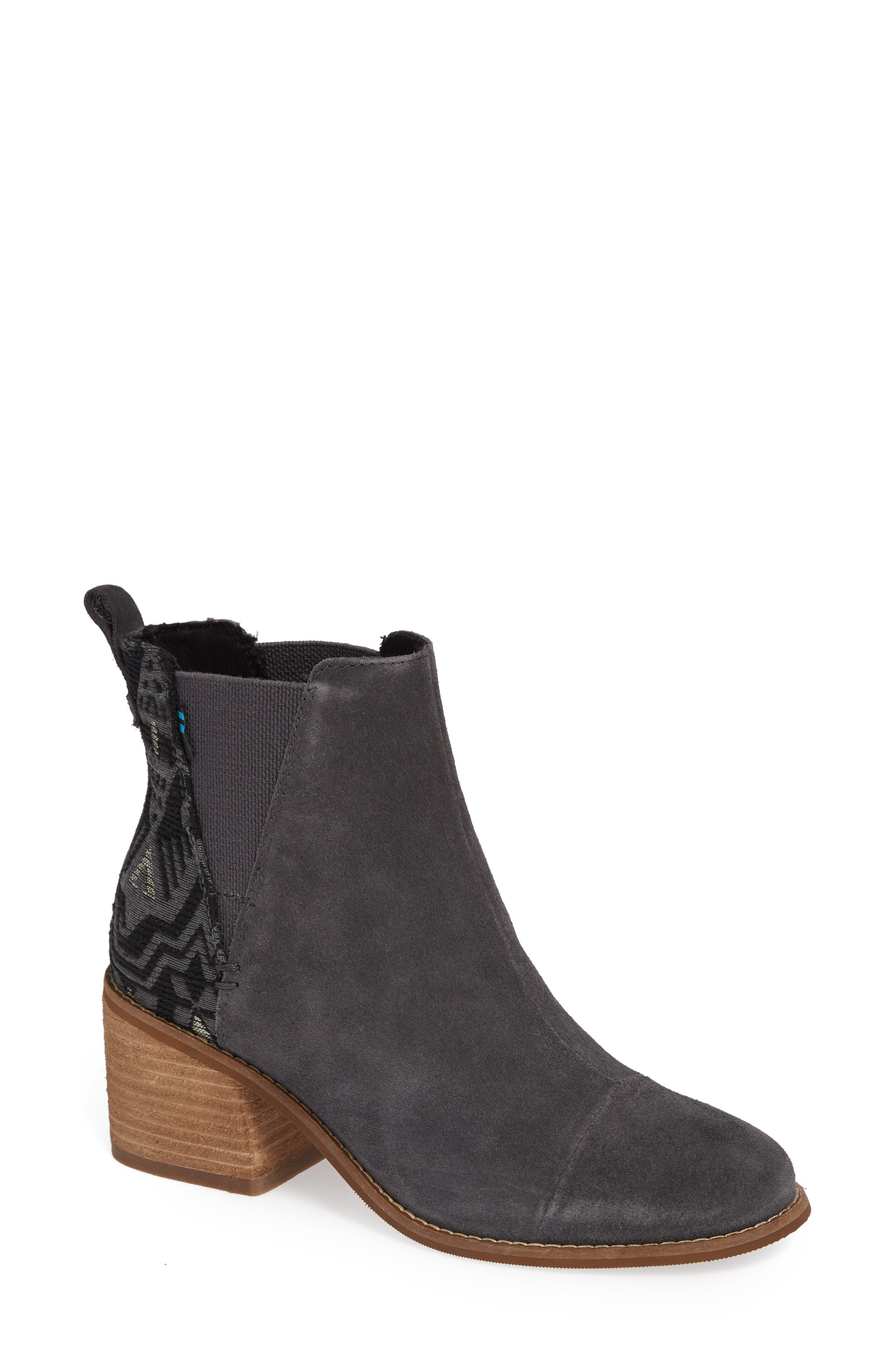 Esme Bootie,                             Main thumbnail 1, color,                             FORGED IRON SUEDE