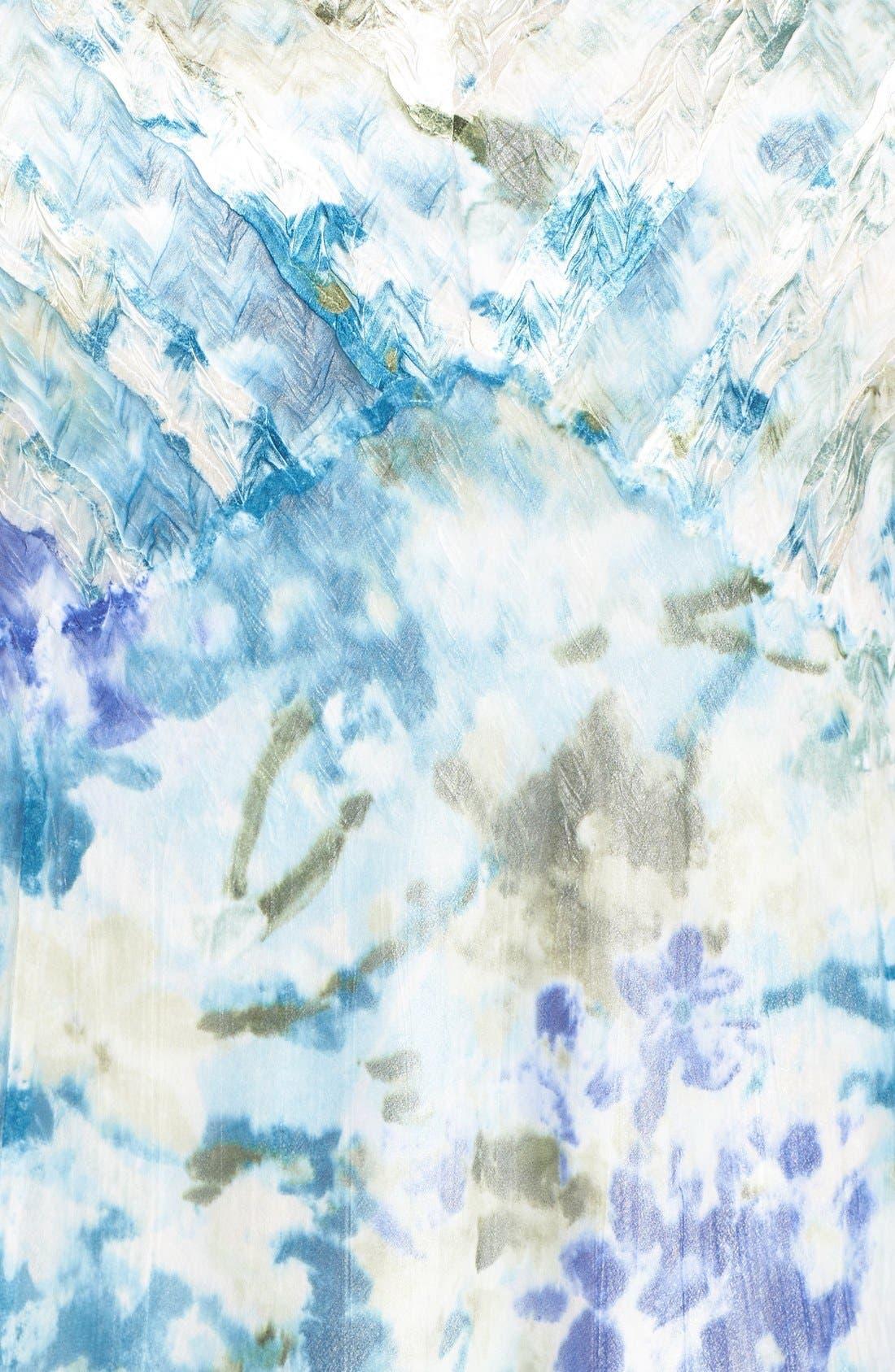 Print Three-Quarter Sleeve Chiffon A-Line Dress,                             Alternate thumbnail 5, color,