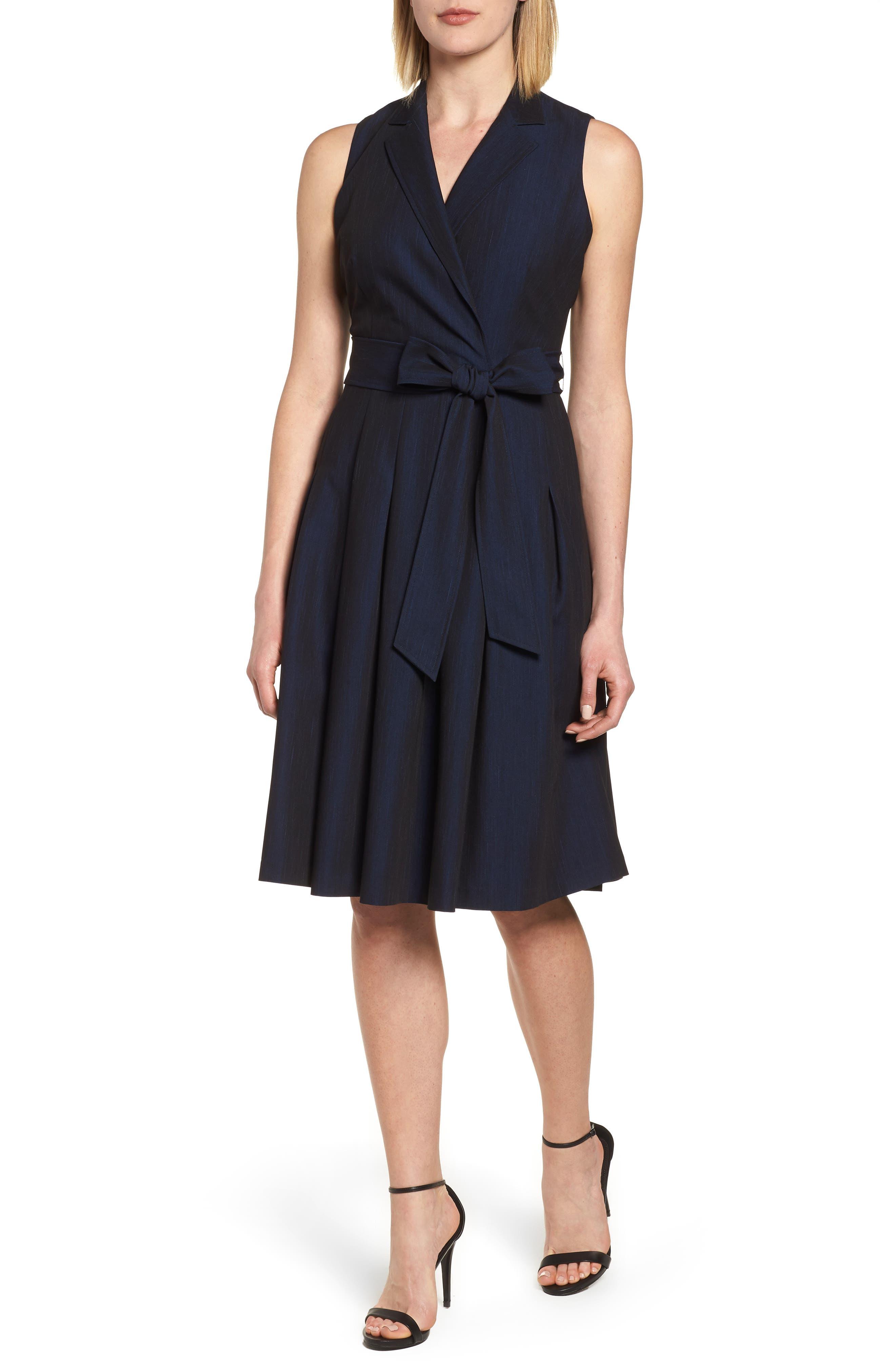 Notch Collar Stretch Denim Dress,                             Main thumbnail 2, color,