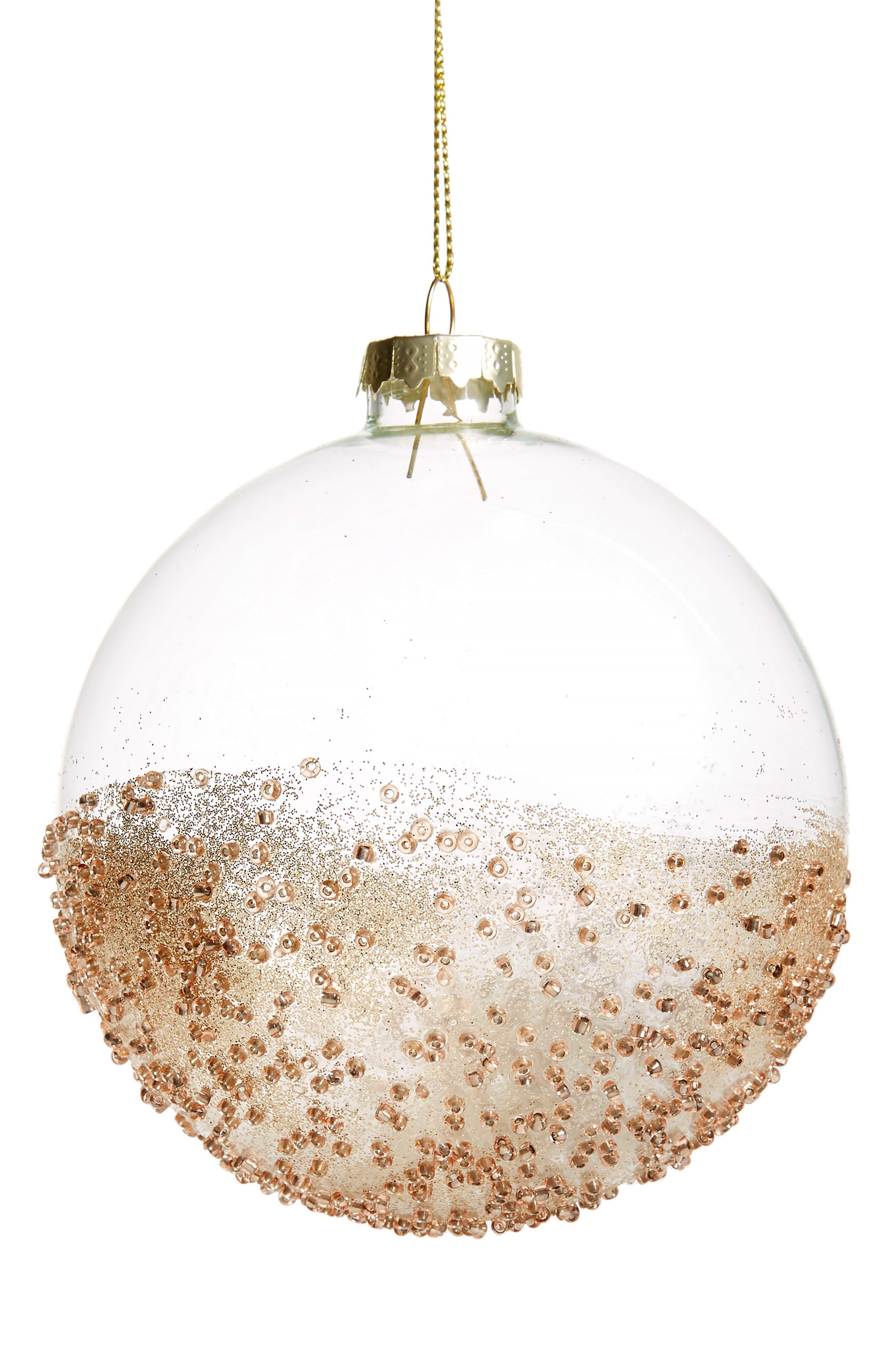 Glitter Glass Ball Ornament,                         Main,                         color, COPPER