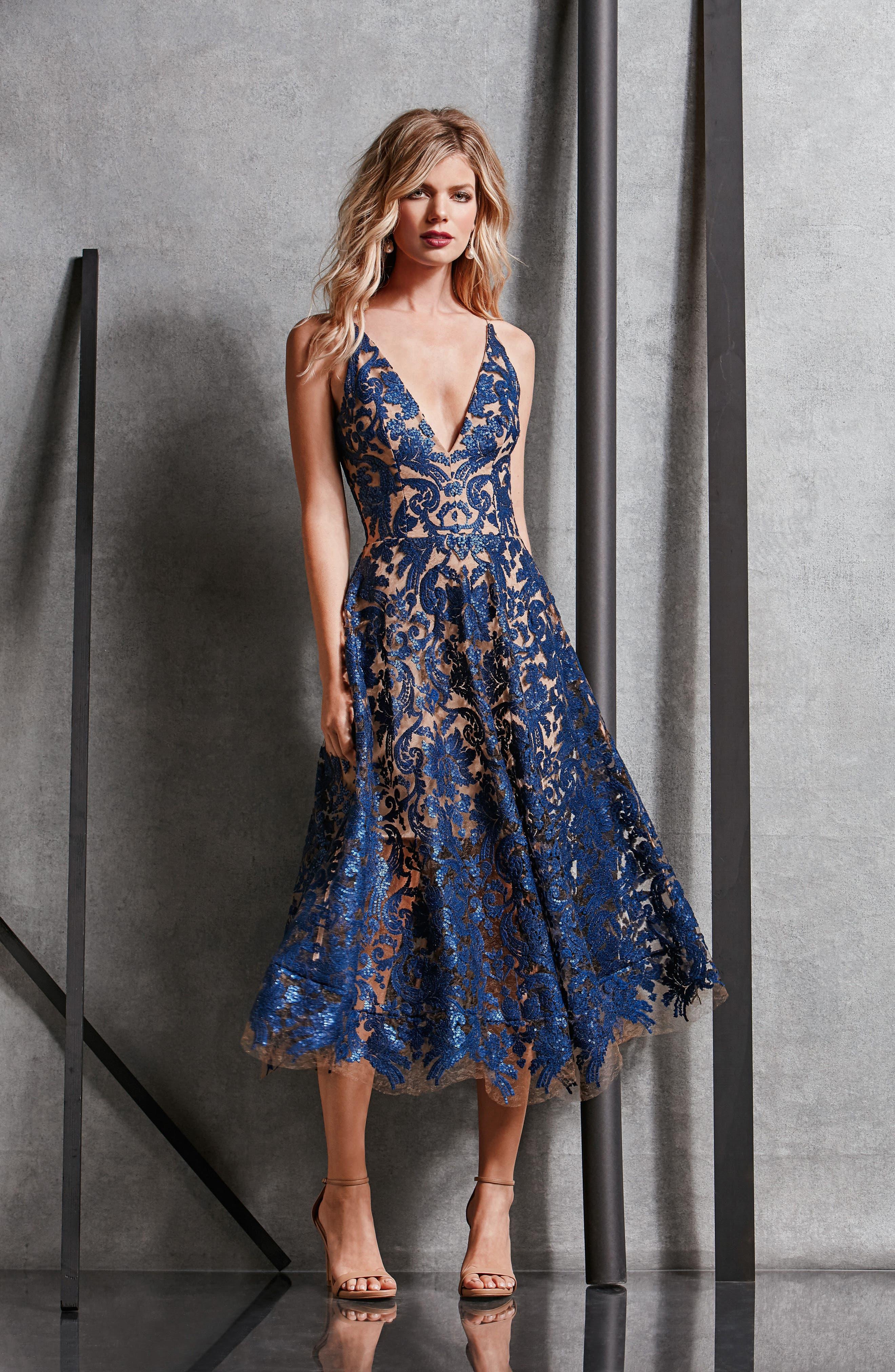 Blair Embellished Fit & Flare Dress,                             Alternate thumbnail 33, color,