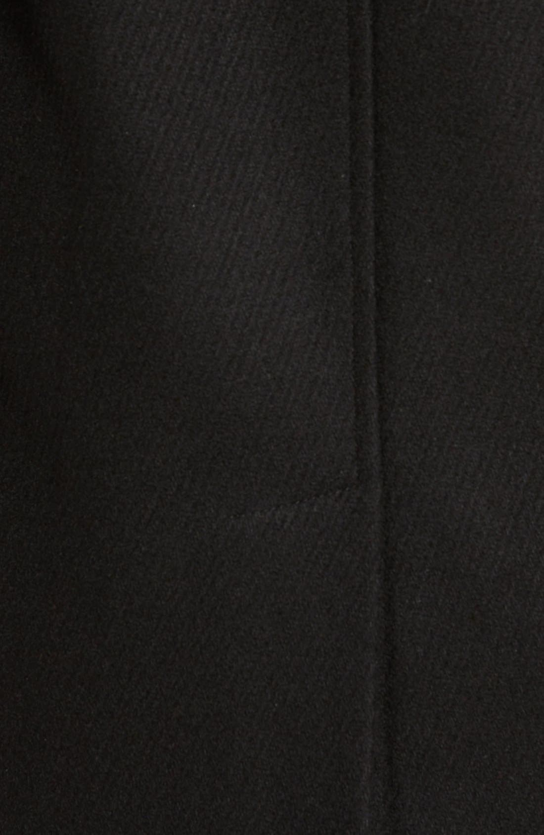 Cole Haan Hooded Duffle Coat with Faux Fur Trim,                             Alternate thumbnail 6, color,                             BLACK