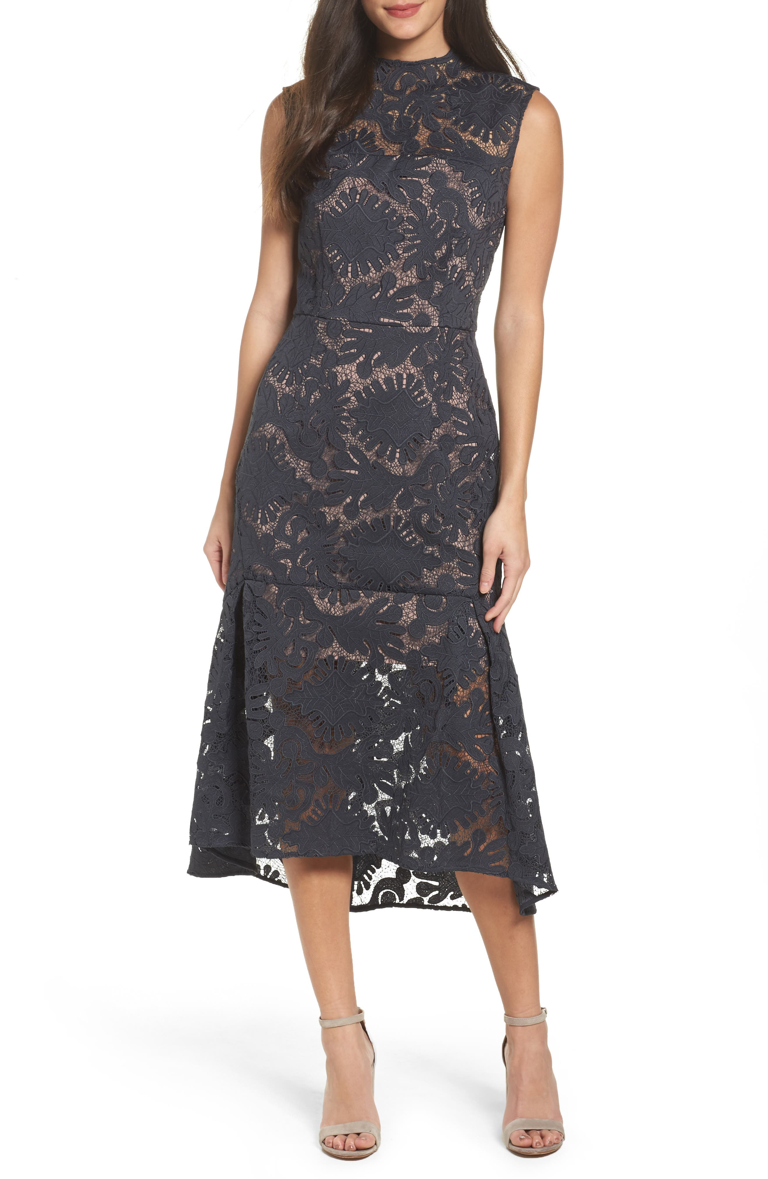 Lace Midi Dress,                             Main thumbnail 1, color,                             410