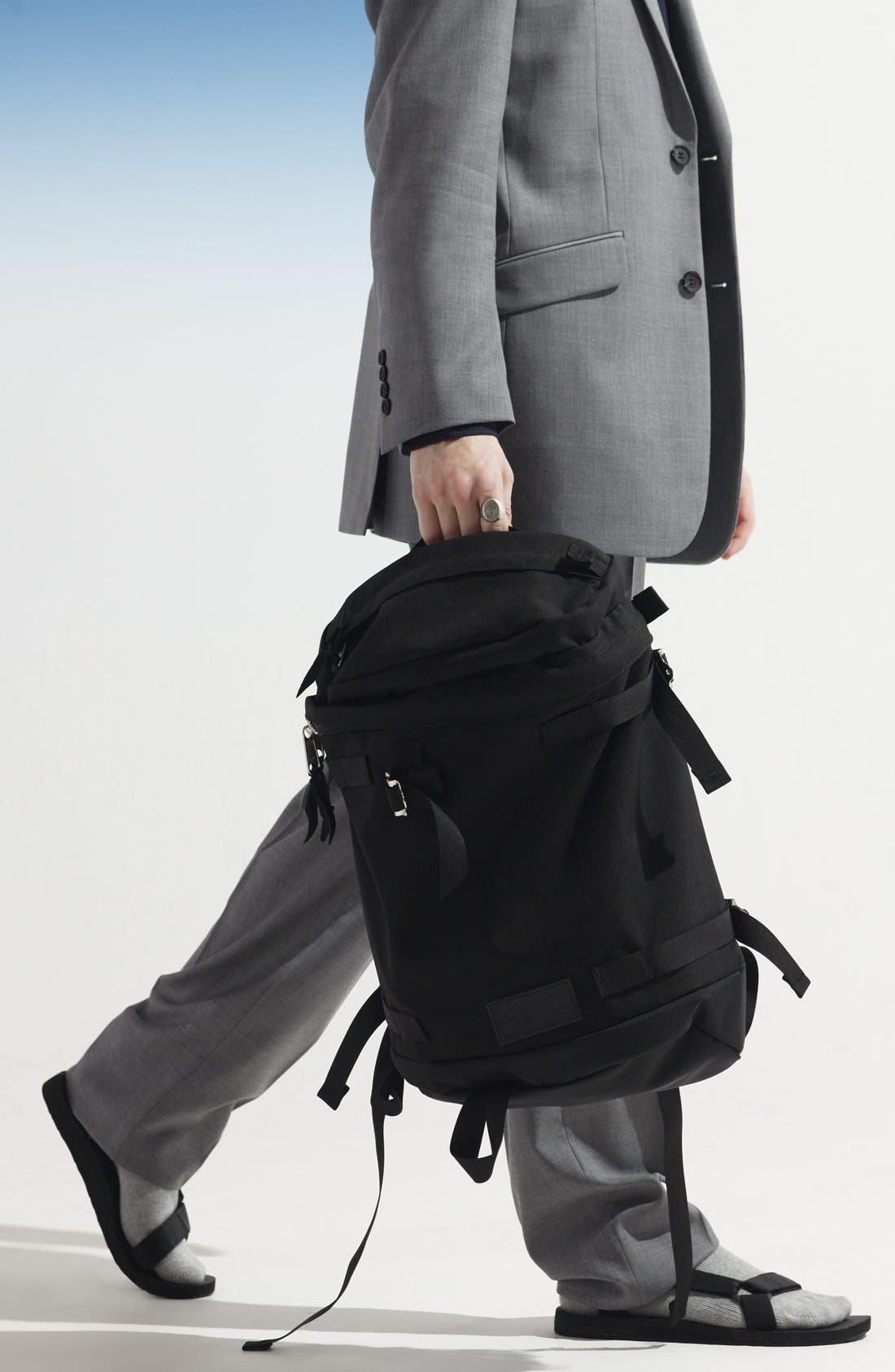 'Flip' Nylon Backpack,                             Alternate thumbnail 3, color,                             001