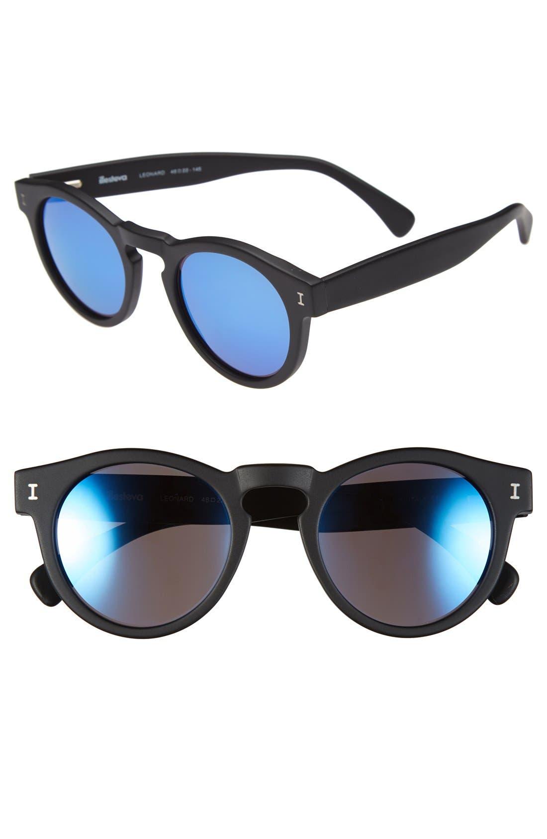 'Leonard' 47mm Sunglasses,                             Main thumbnail 1, color,                             001
