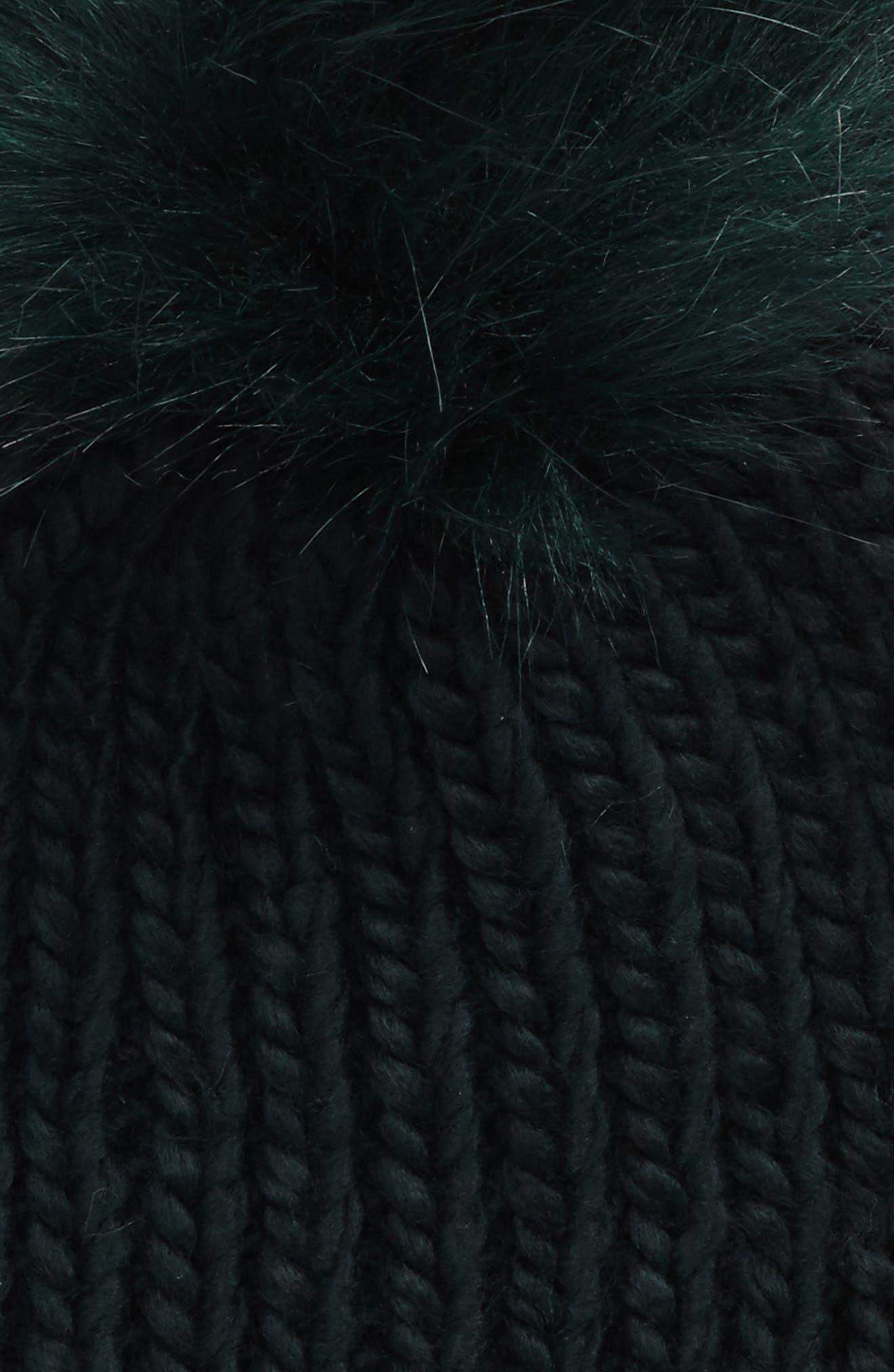 Faux Fur Pom Chunky Beanie,                             Alternate thumbnail 2, color,                             300