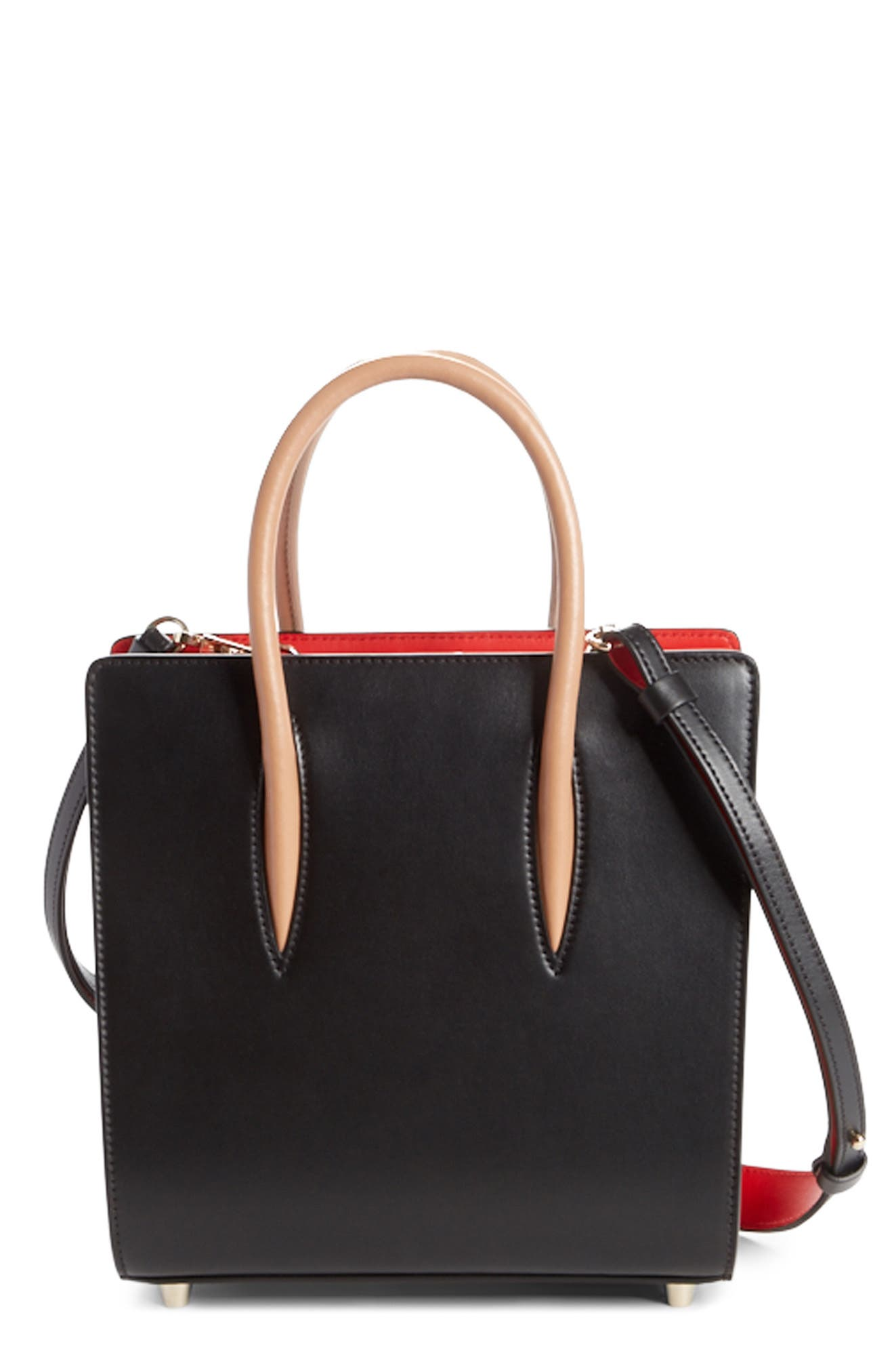 Paloma Calfskin Tote,                         Main,                         color, BLACK/ BROWN