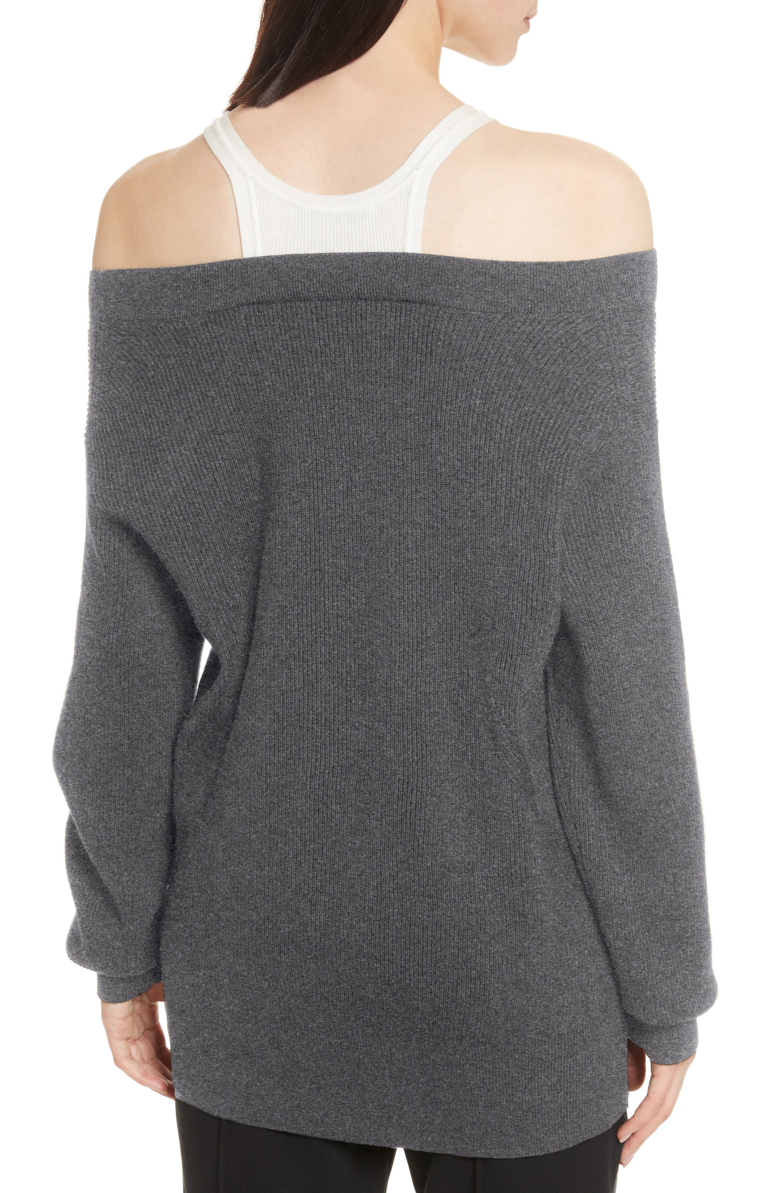 T by Alexander Wang Bi-Layer Off-the-Shoulder Sweater with Inner Tank,                             Alternate thumbnail 2, color,                             091