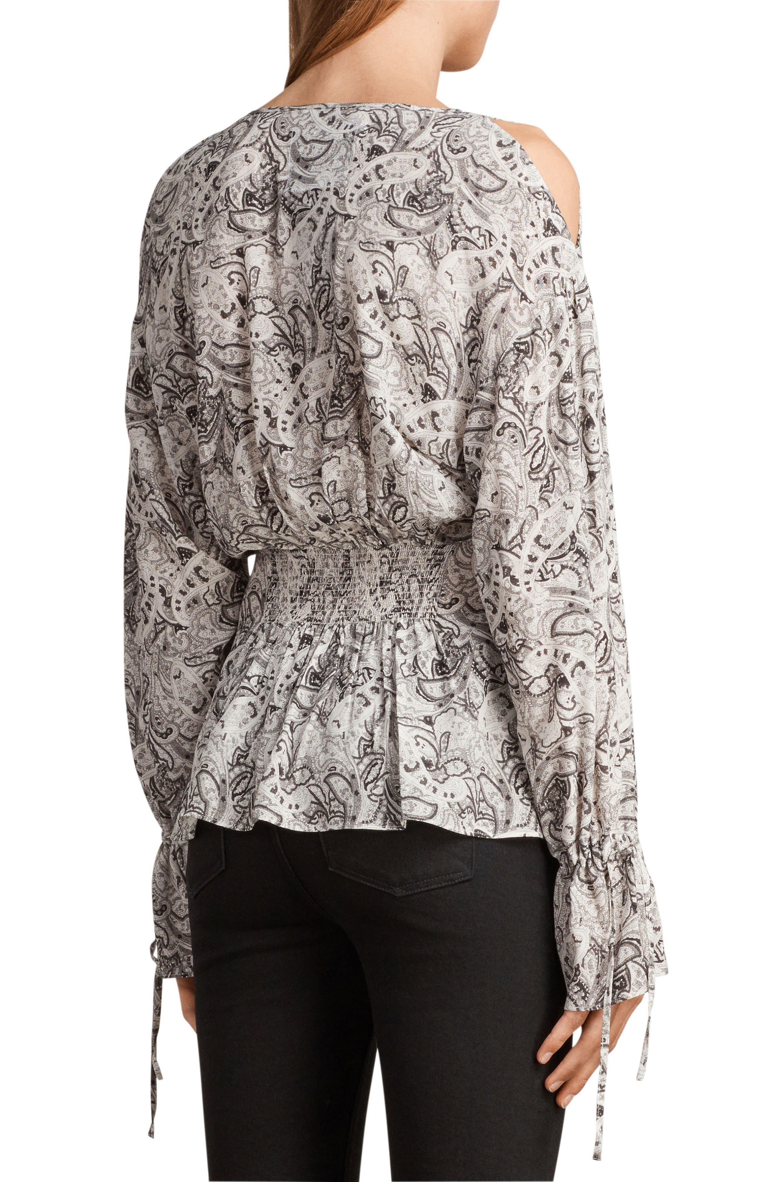 Lavete Paisley Cold Shoulder Top,                             Alternate thumbnail 2, color,