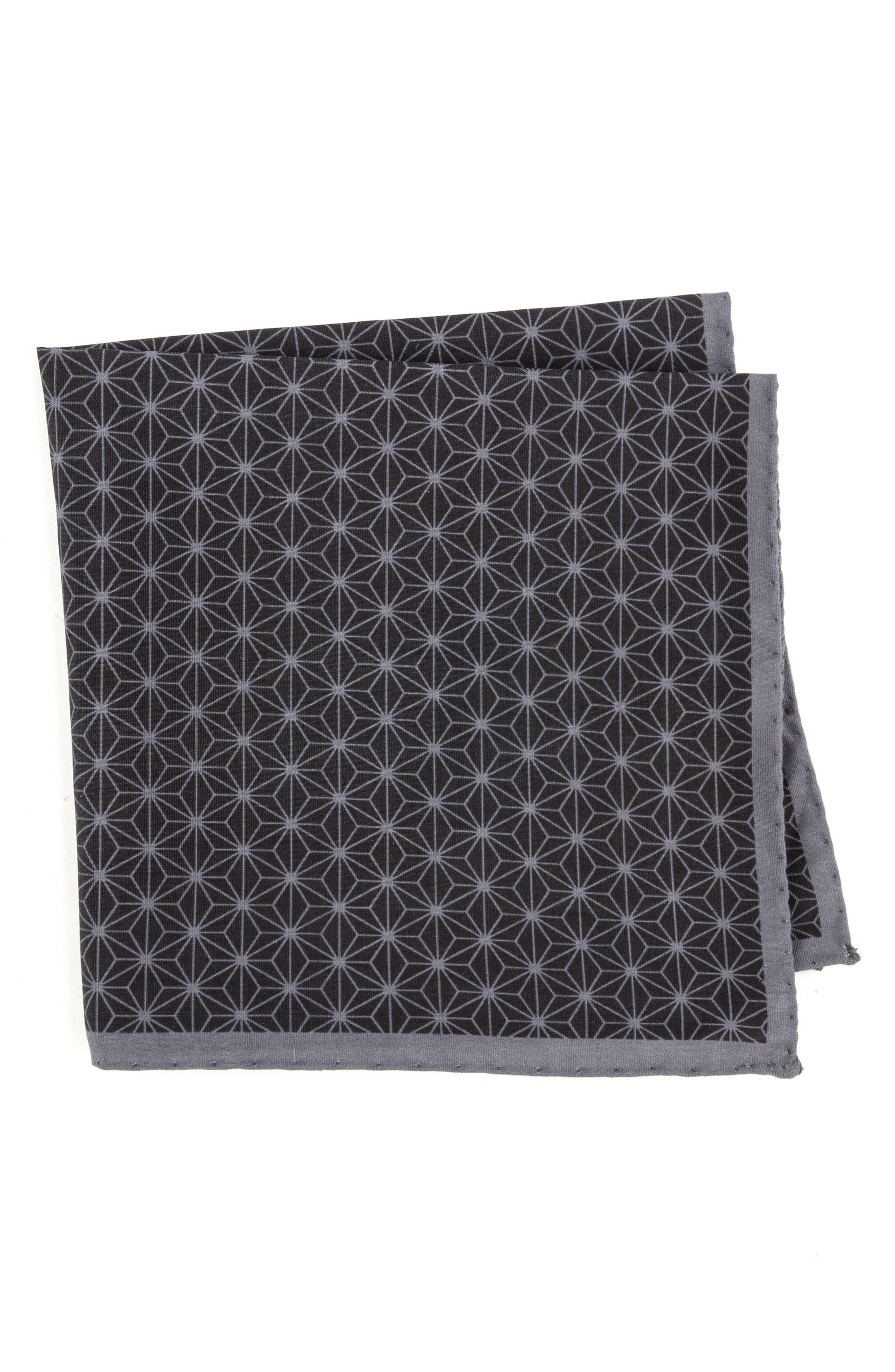 Starburst Geometric Silk Pocket Square,                             Main thumbnail 1, color,                             001