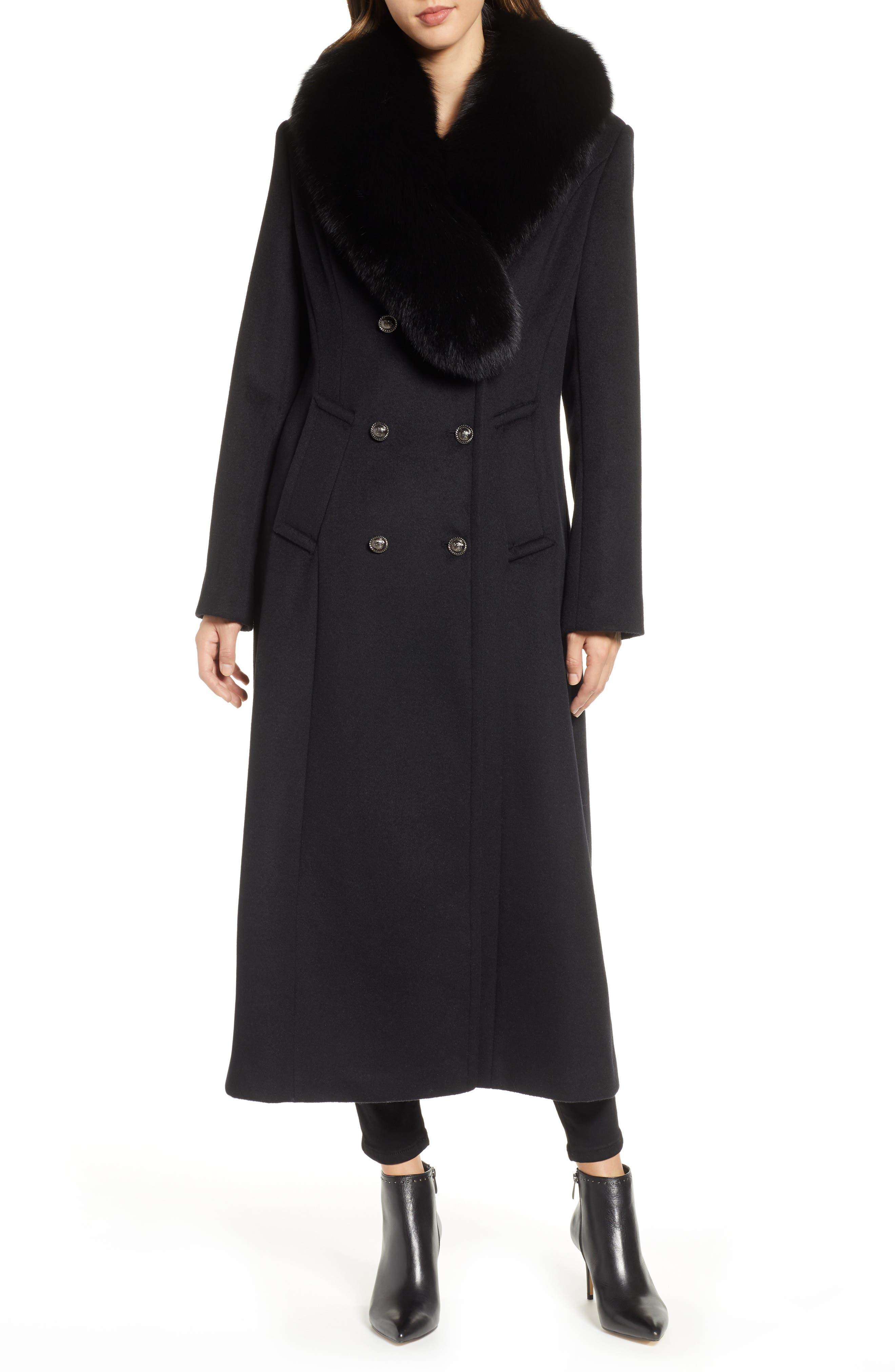 1 MADISON Double Breasted Military Wool Coat with Genuine Fox Fur Shawl, Main, color, BLACK