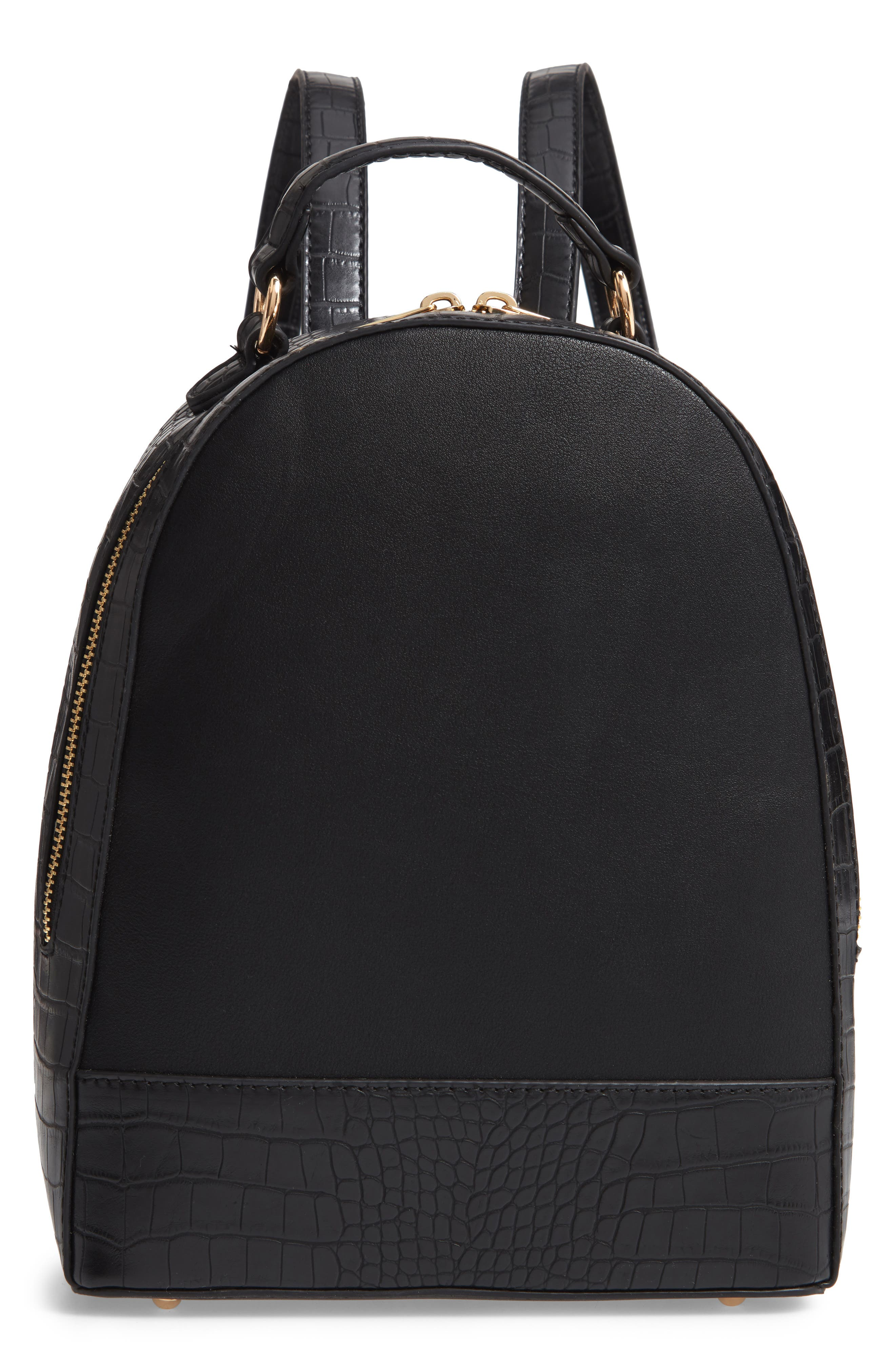 Jamya Croc Embossed Faux Leather Backpack,                             Main thumbnail 1, color,                             BLACK