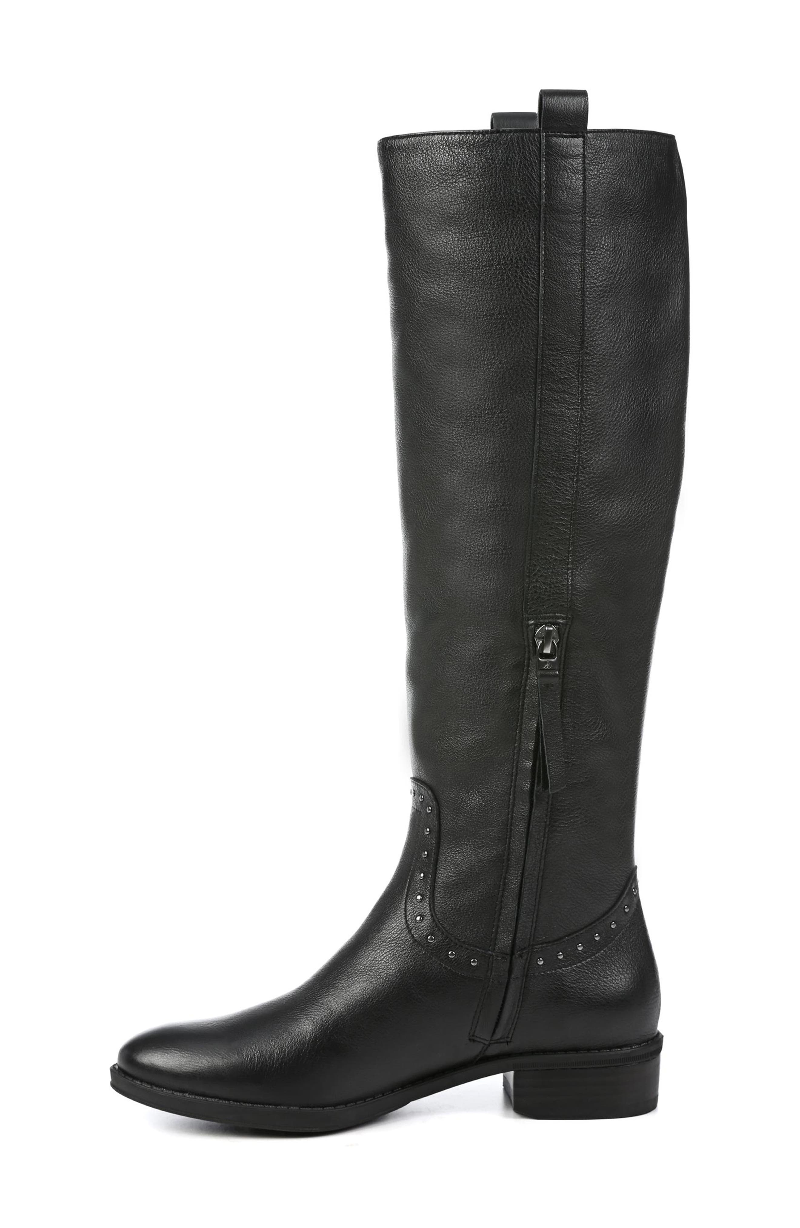 Prina Riding Boot,                             Alternate thumbnail 9, color,                             BLACK LEATHER